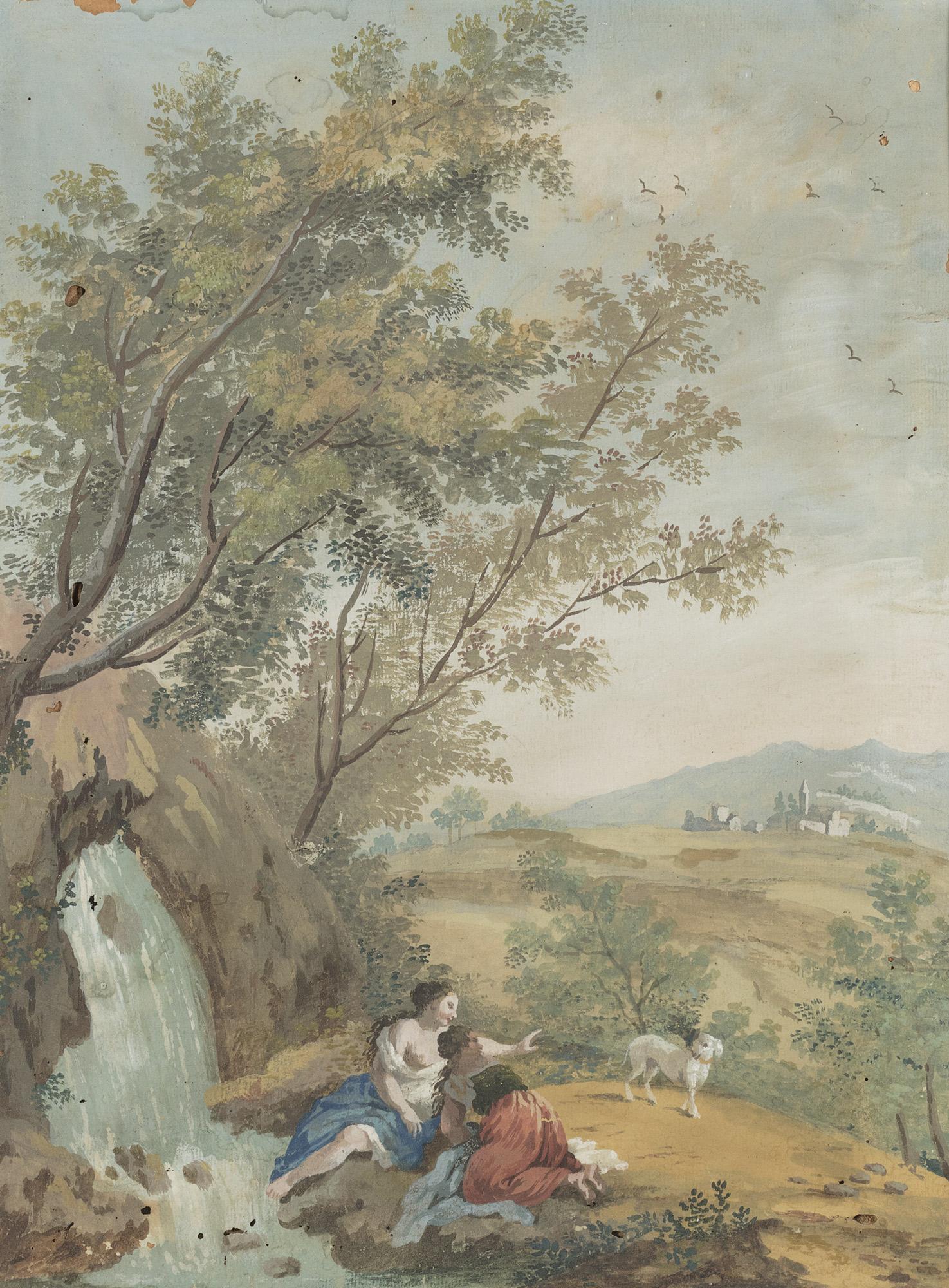 Paesaggio arcadico con lavandaie presso una cascatella