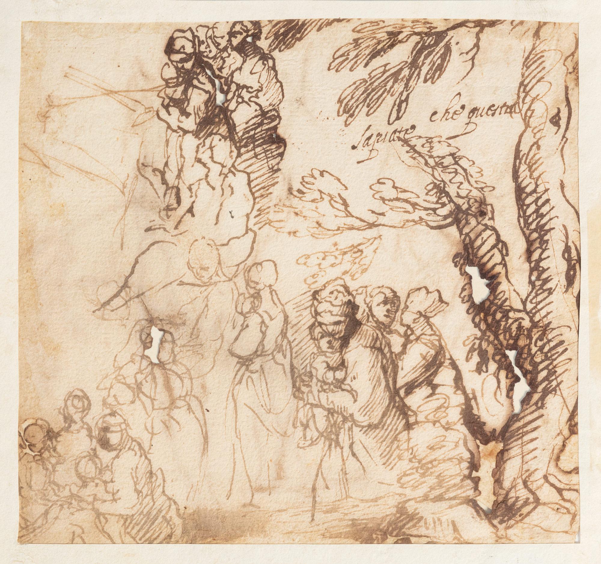 Studio per la predica del Battista: Giovanni Battista di spalle, recto, e studi di figure che assistono alla predica, verso