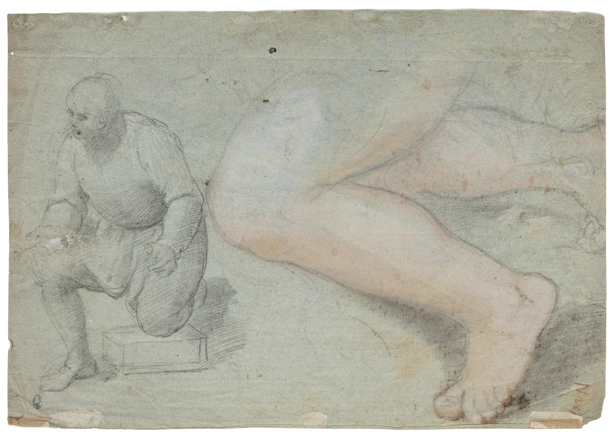 Studio di figura inginocchiata e di gambe, recto; e studio di braccio sinistro, verso