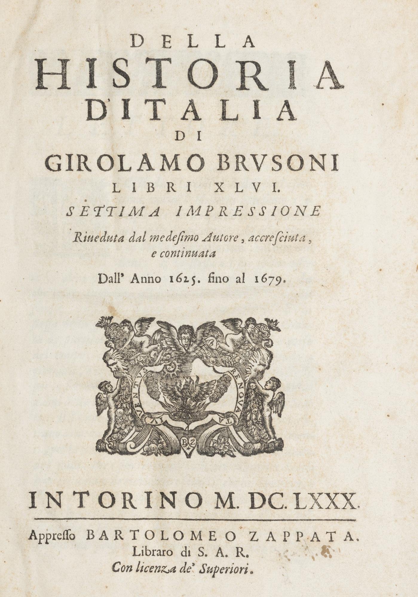 Della Historia d'Italia… libri XLVI. Settima impressione riveduta dal medesimo Autore, accresciuta, e continuata dall'anno 1625 fino al 1679