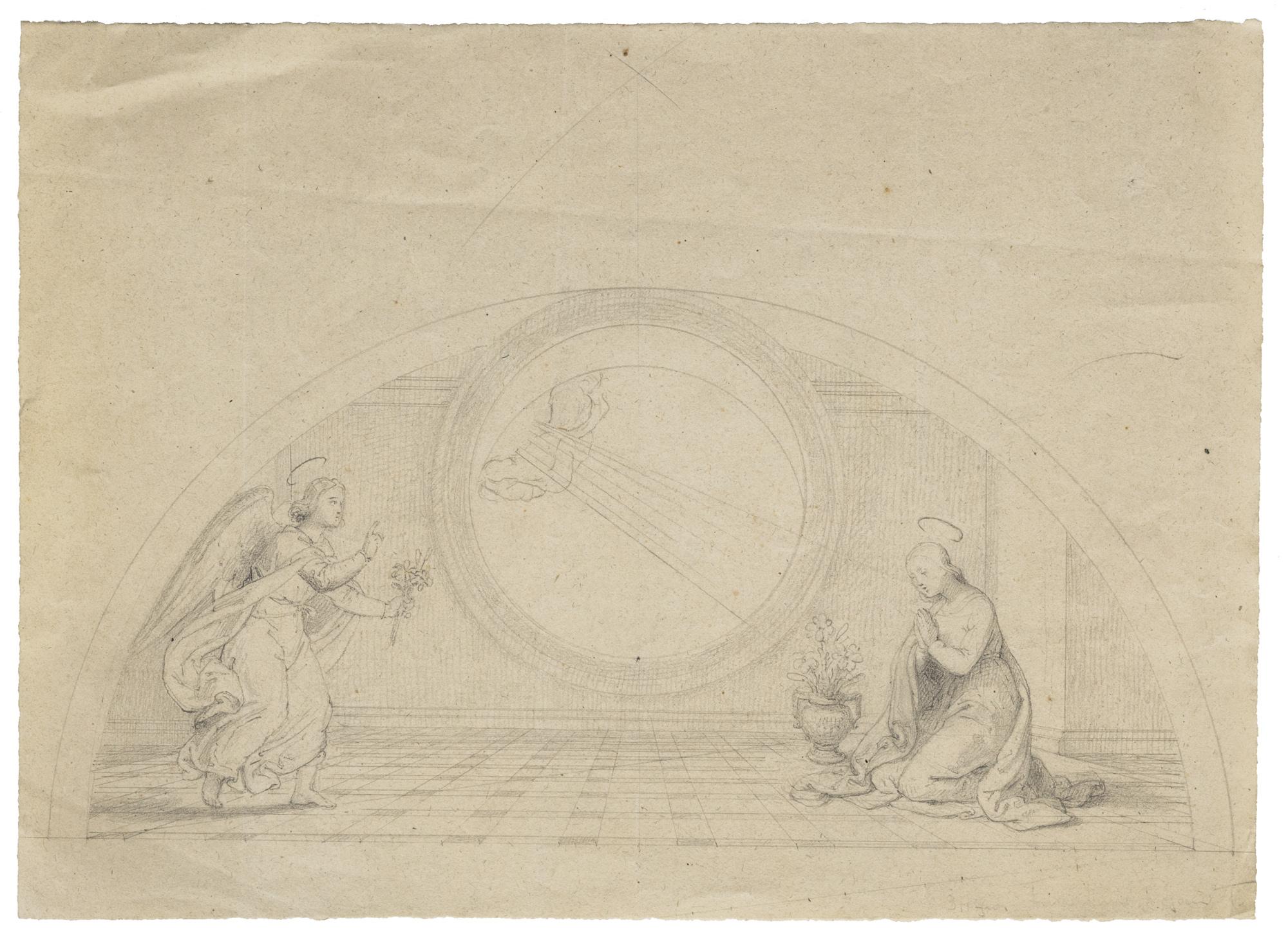 Tre studi per una lunetta: due scene raffiguranti Le pie donne al sepolcro; e l'Annunciazione