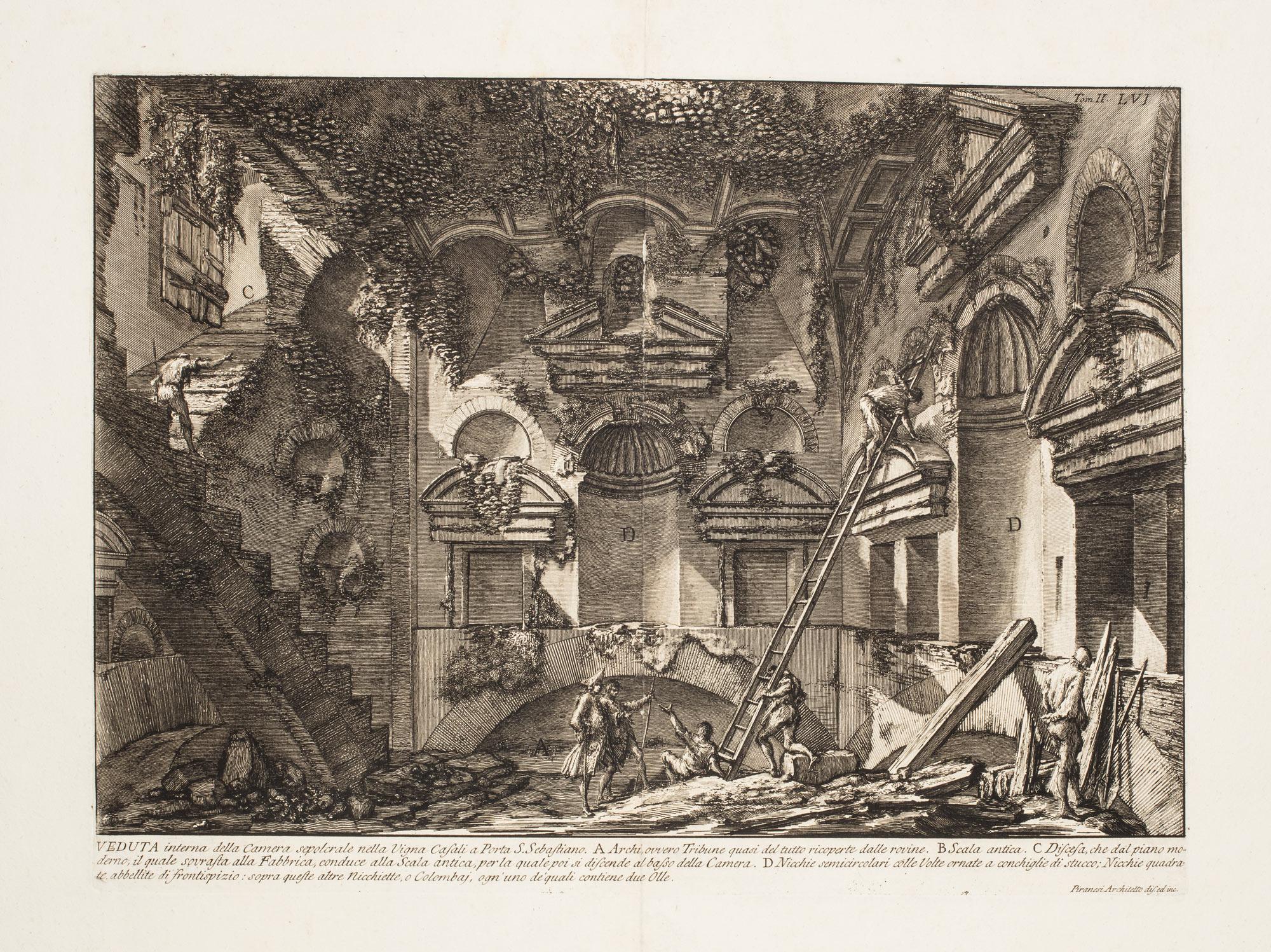 Veduta interna della camera sepolcrale nella Vigna Casali a Porta S. Sebastiano