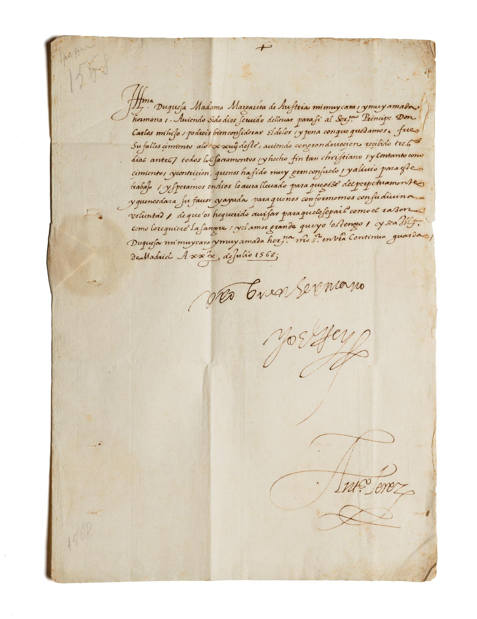 Lettera sottoscritta da Filippo II e altre