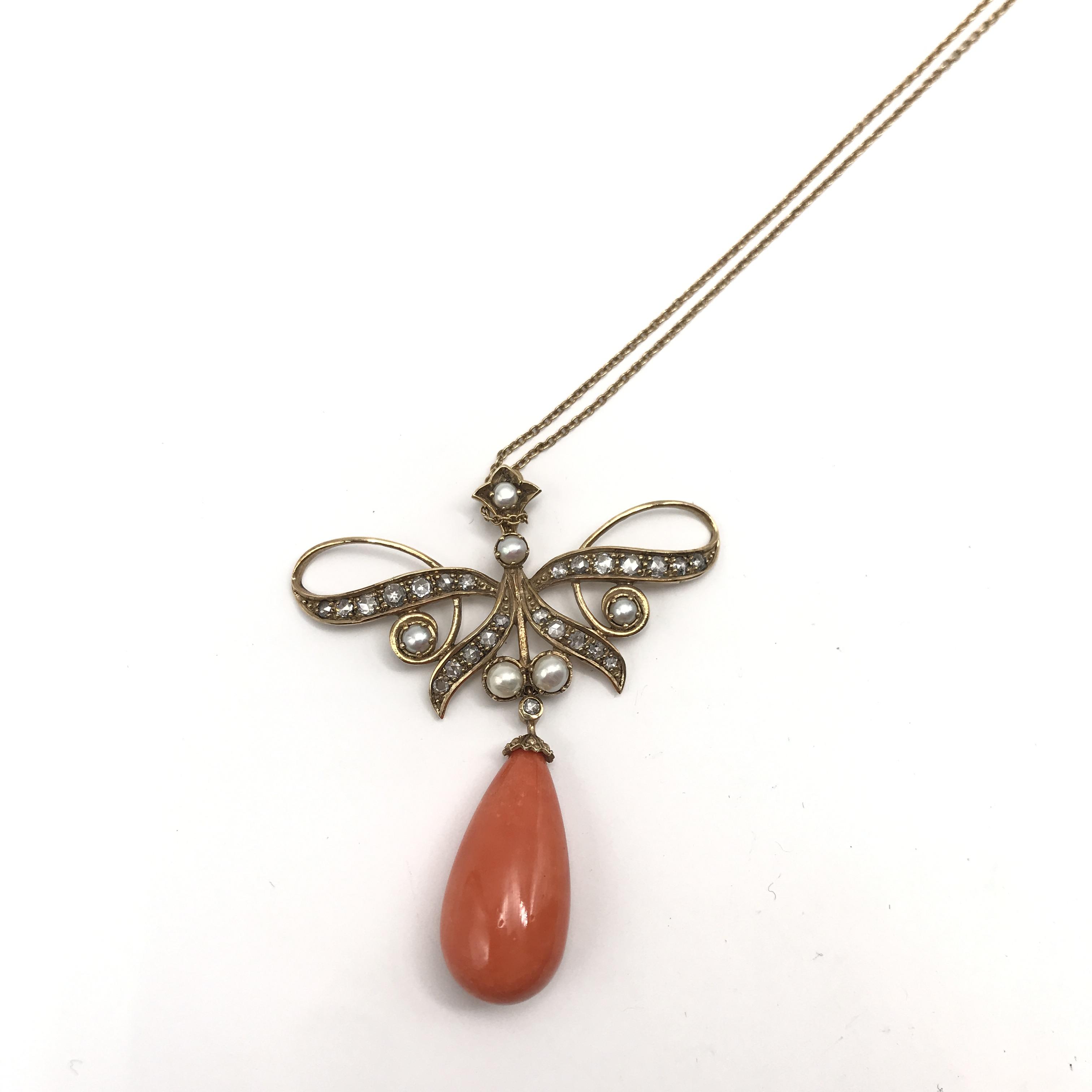in oro 9kt, corallo, perle coltivate, rubino e diamanti