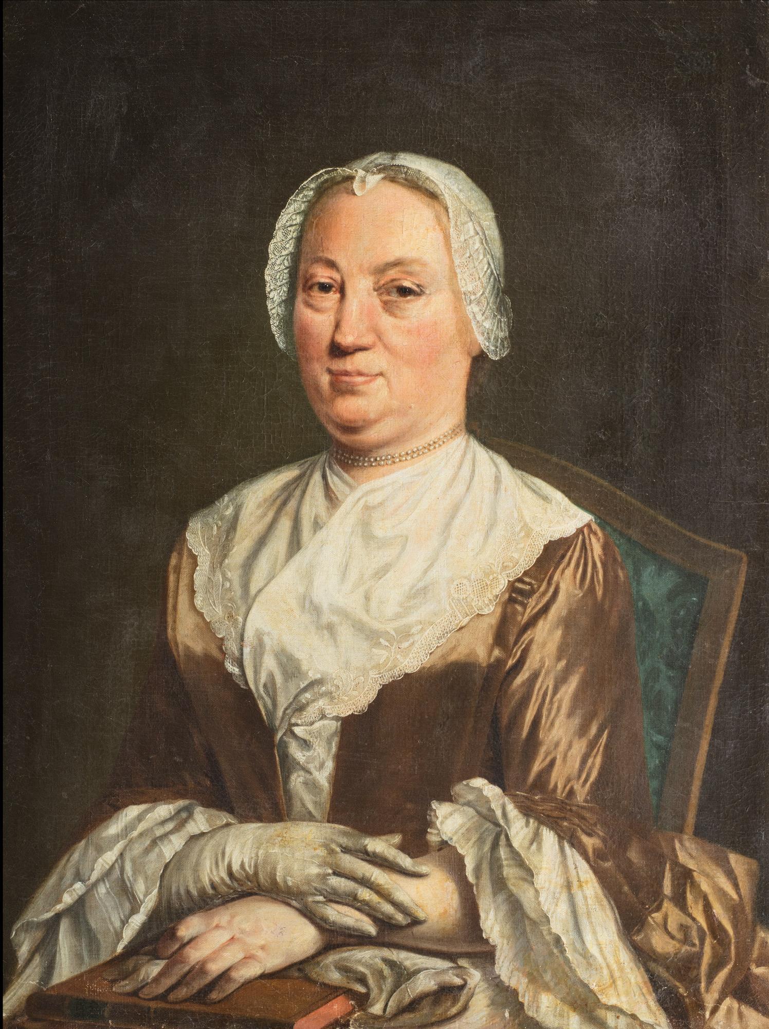 Ritratto di dama, mezzo busto, con cuffia di pizzo bianco e collana di perle