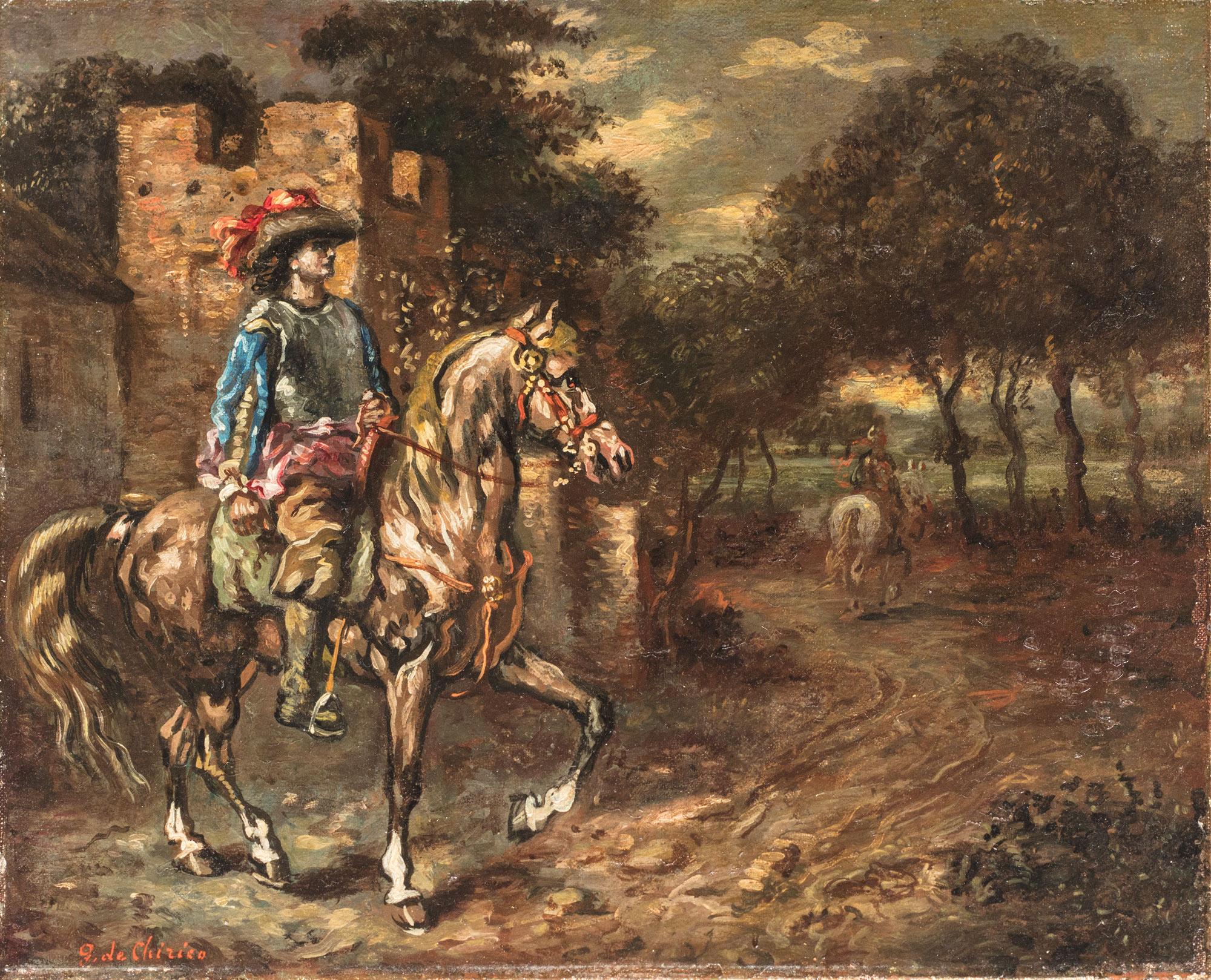 Cavaliere in un paesaggio, Anni '40