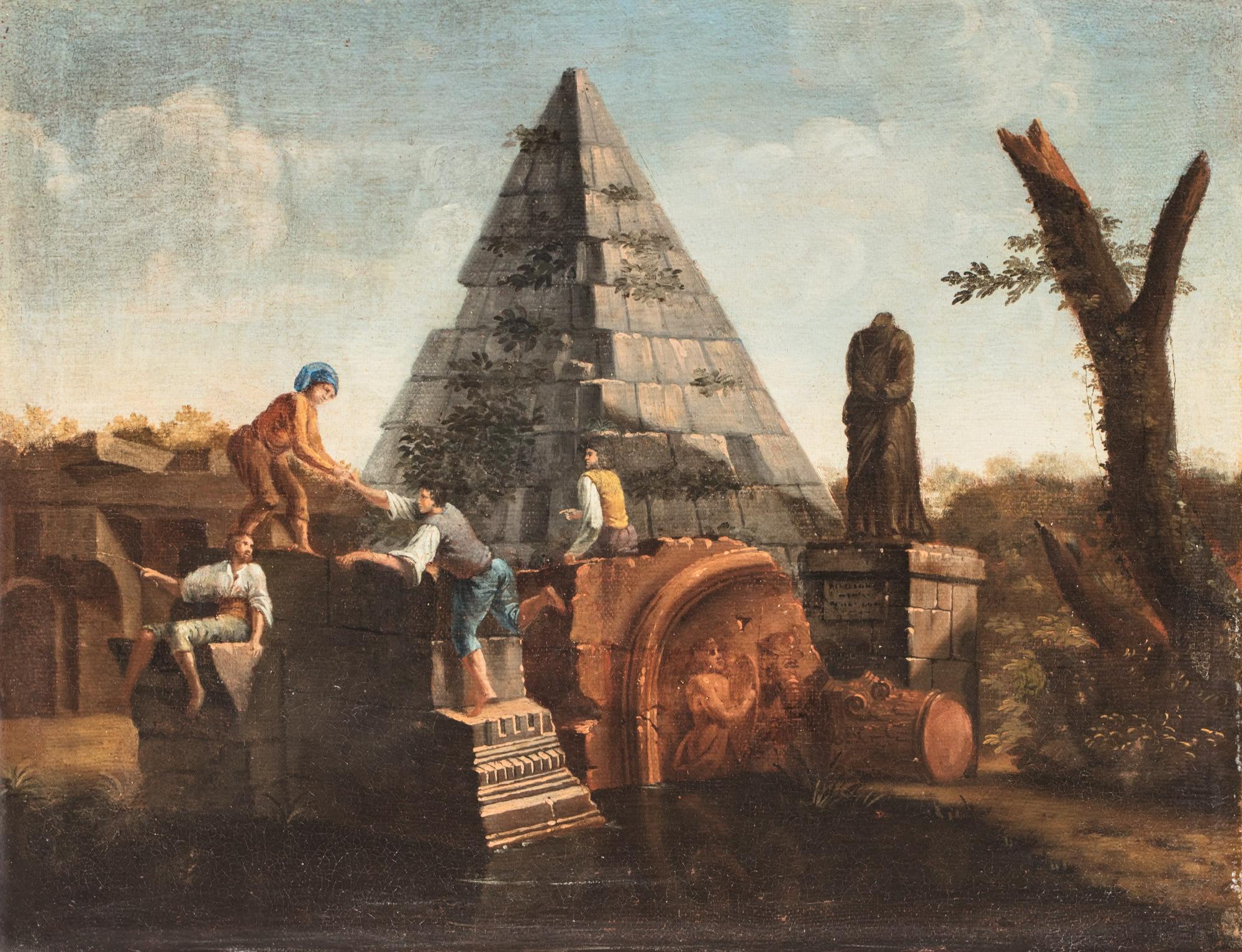 Due capricci architettonici, uno con la Piramide Cestia