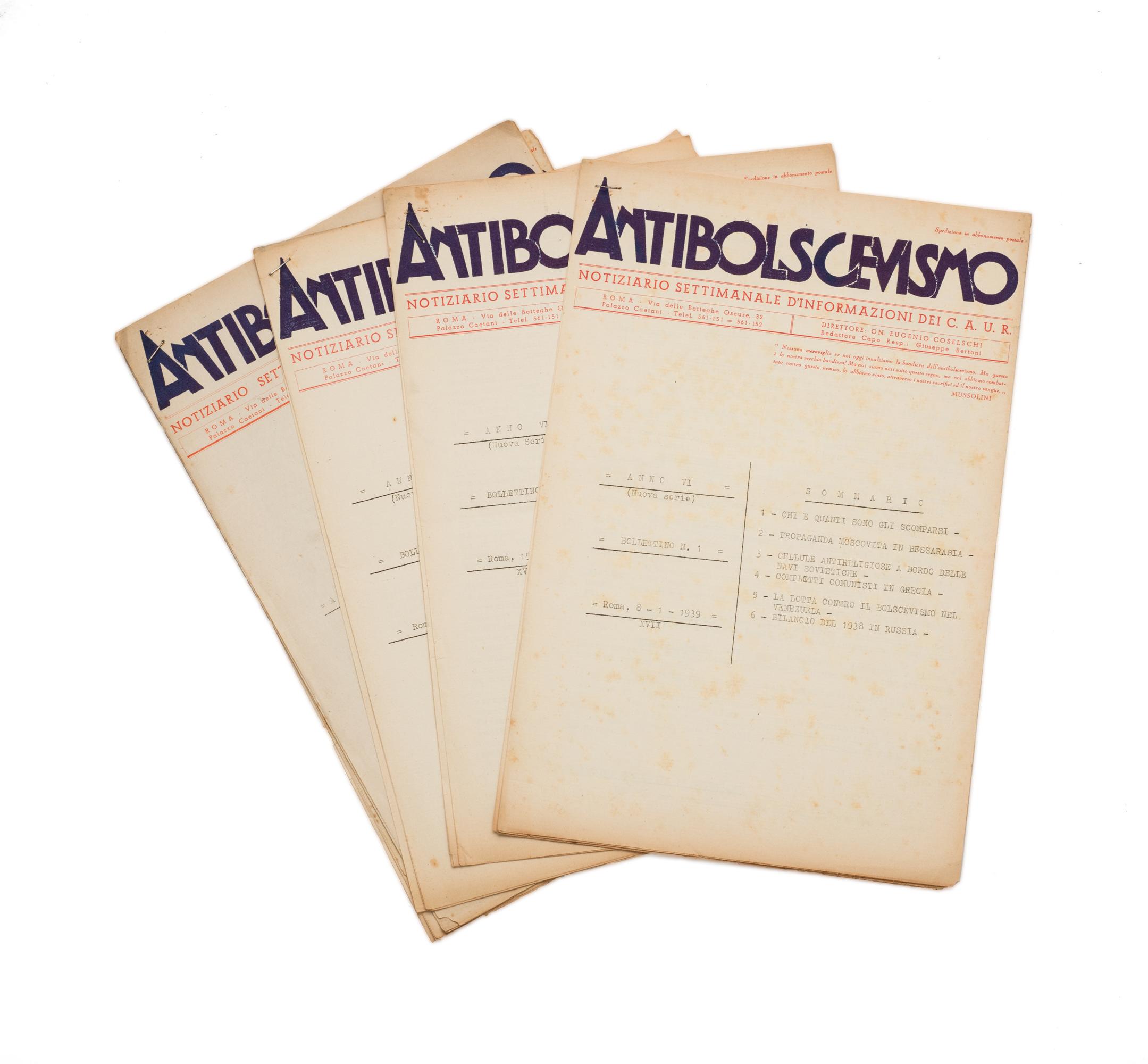 Antibolscevismo. Notiziario settimanale d'informazioni del C.A.U.R.