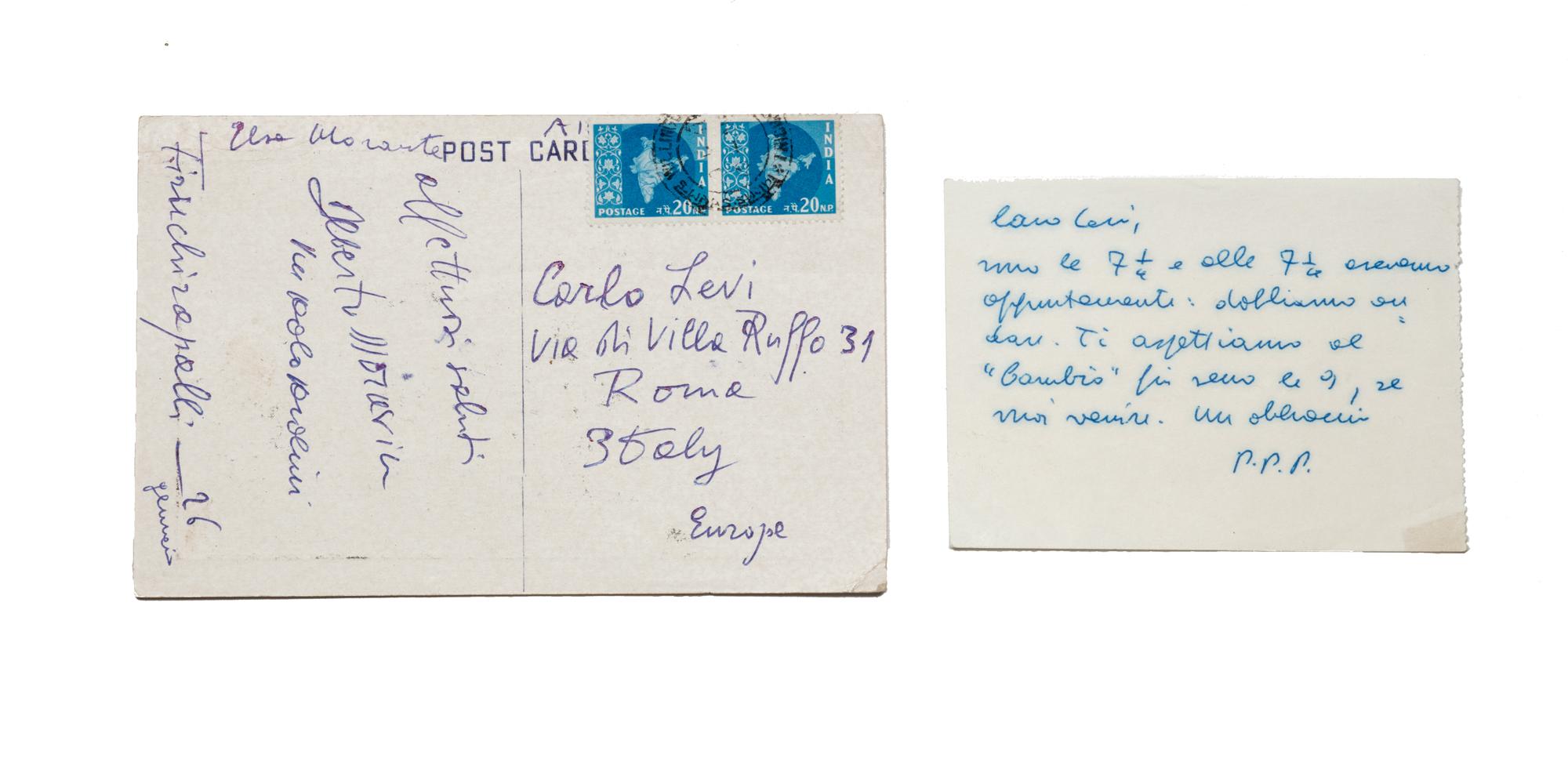 Biglietto autografo e cartolina
