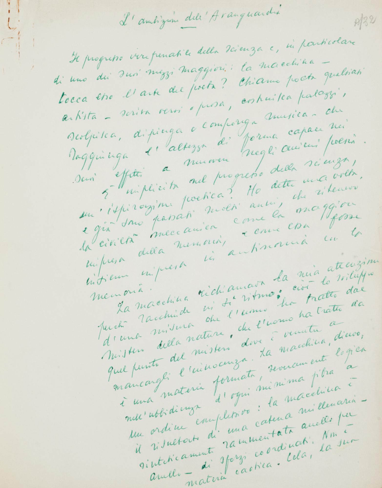 Manoscritti e lettere