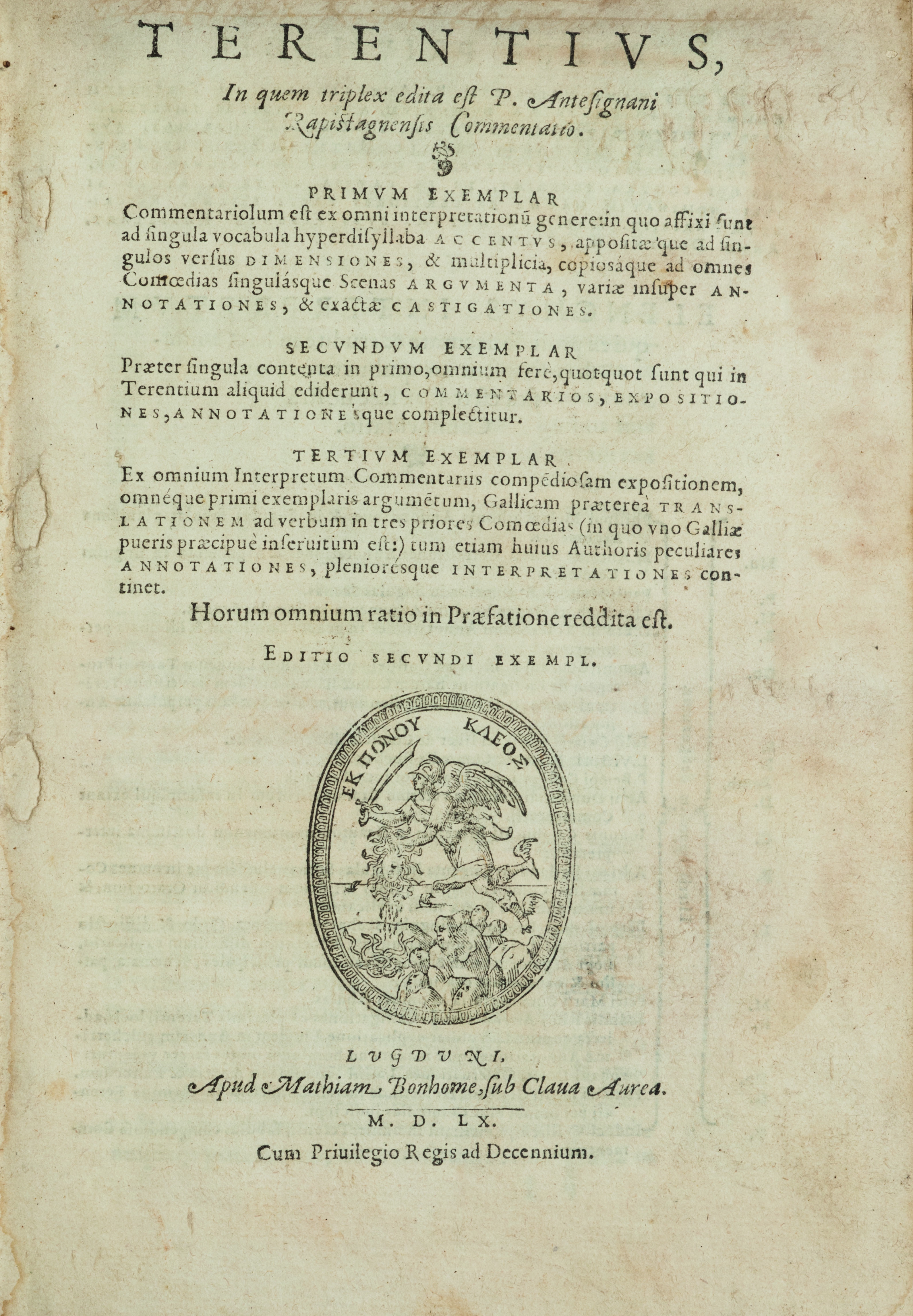 Terentius, in quem triplex edita est P. Antesignani Rapistagnensis commentatio