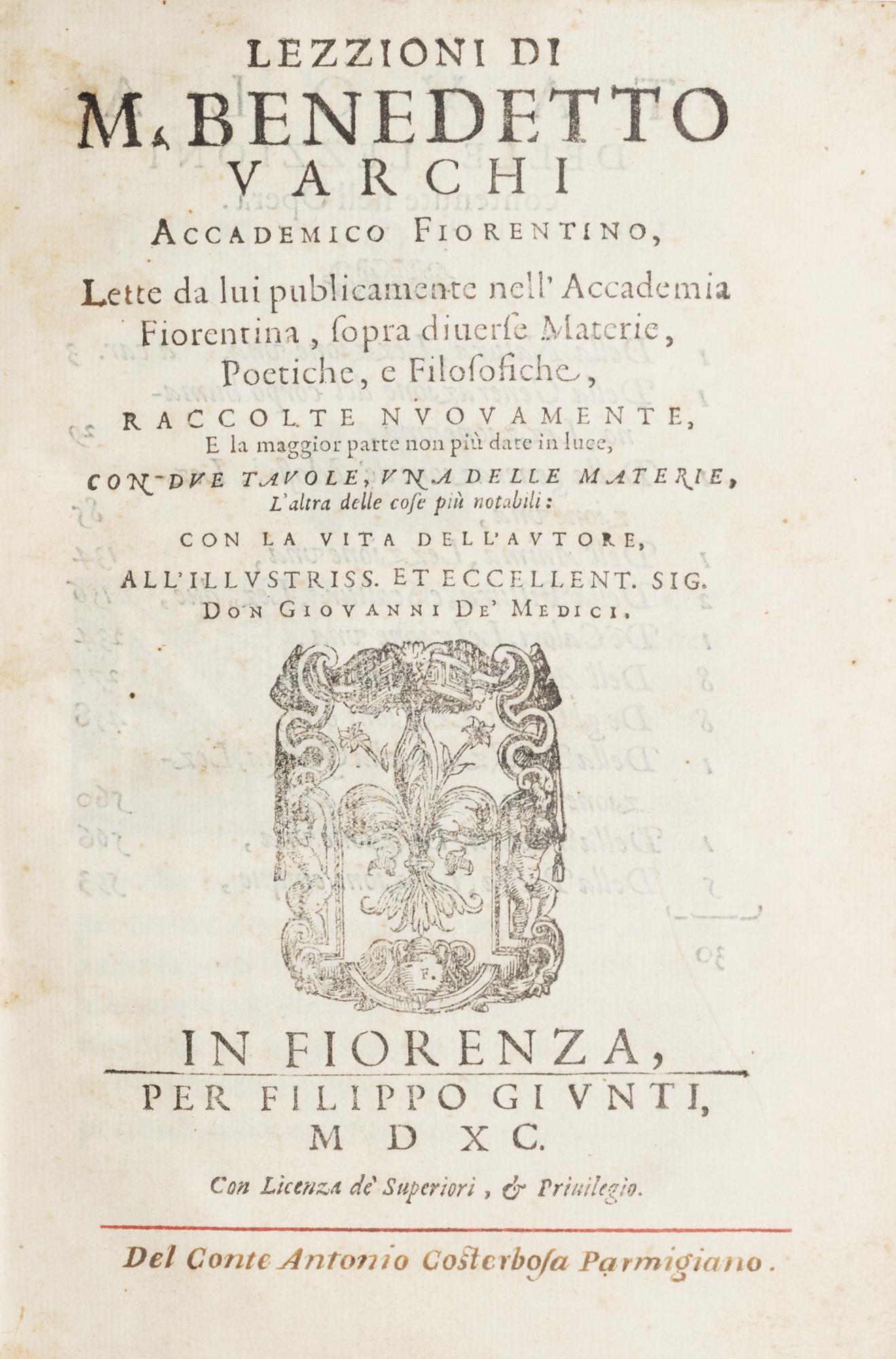 Lezzioni di M. Benedetto Varchi accademico fiorentino, lette da lui publicamente nell'Accademia Fiorentina