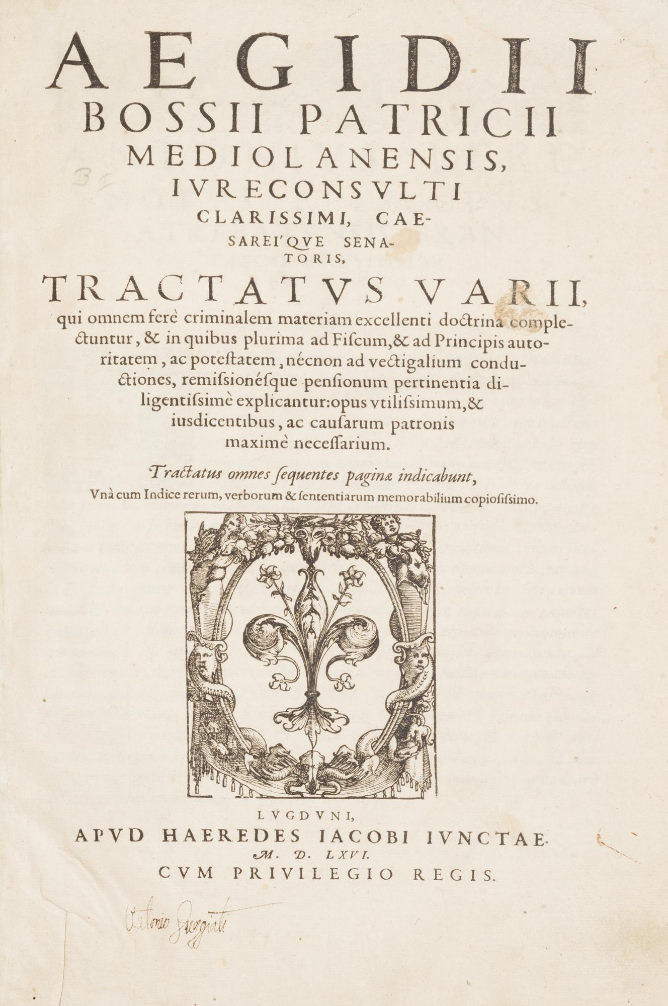 Tractatus varii, qui omnem ferè criminalem materiam excellenti doctrina complectuntur
