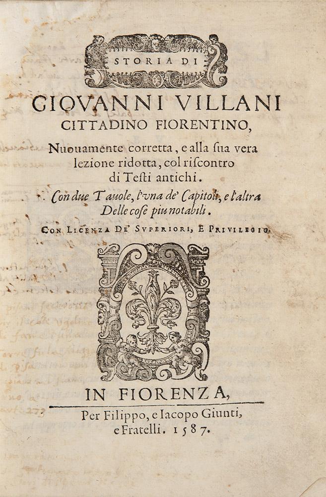 Storia di Giovanni Villani….nuovamente corretta, e alla sua vera lezione ridotta, col riscontro dei Testi antichi