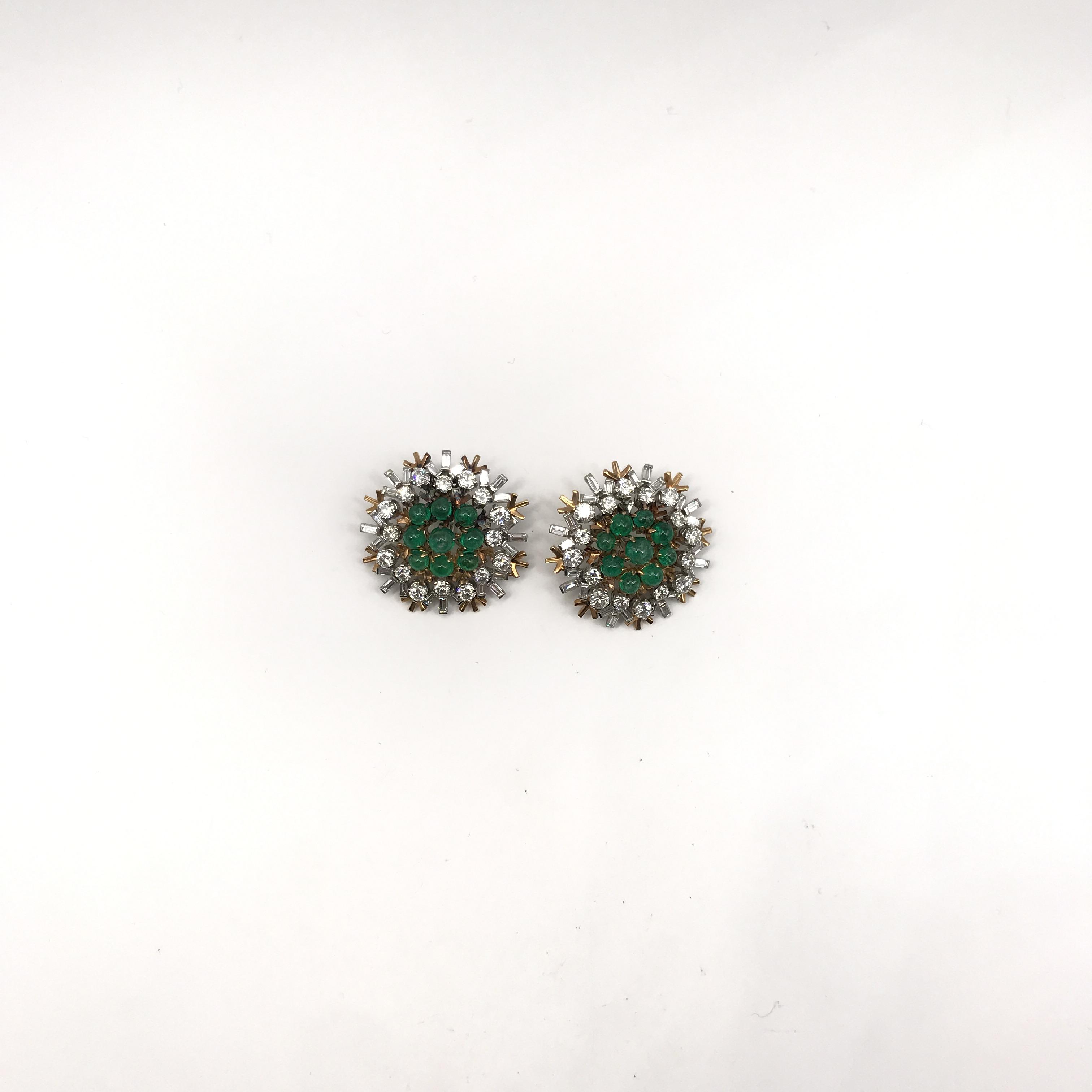 in oro bicolore, smeraldi e diamanti