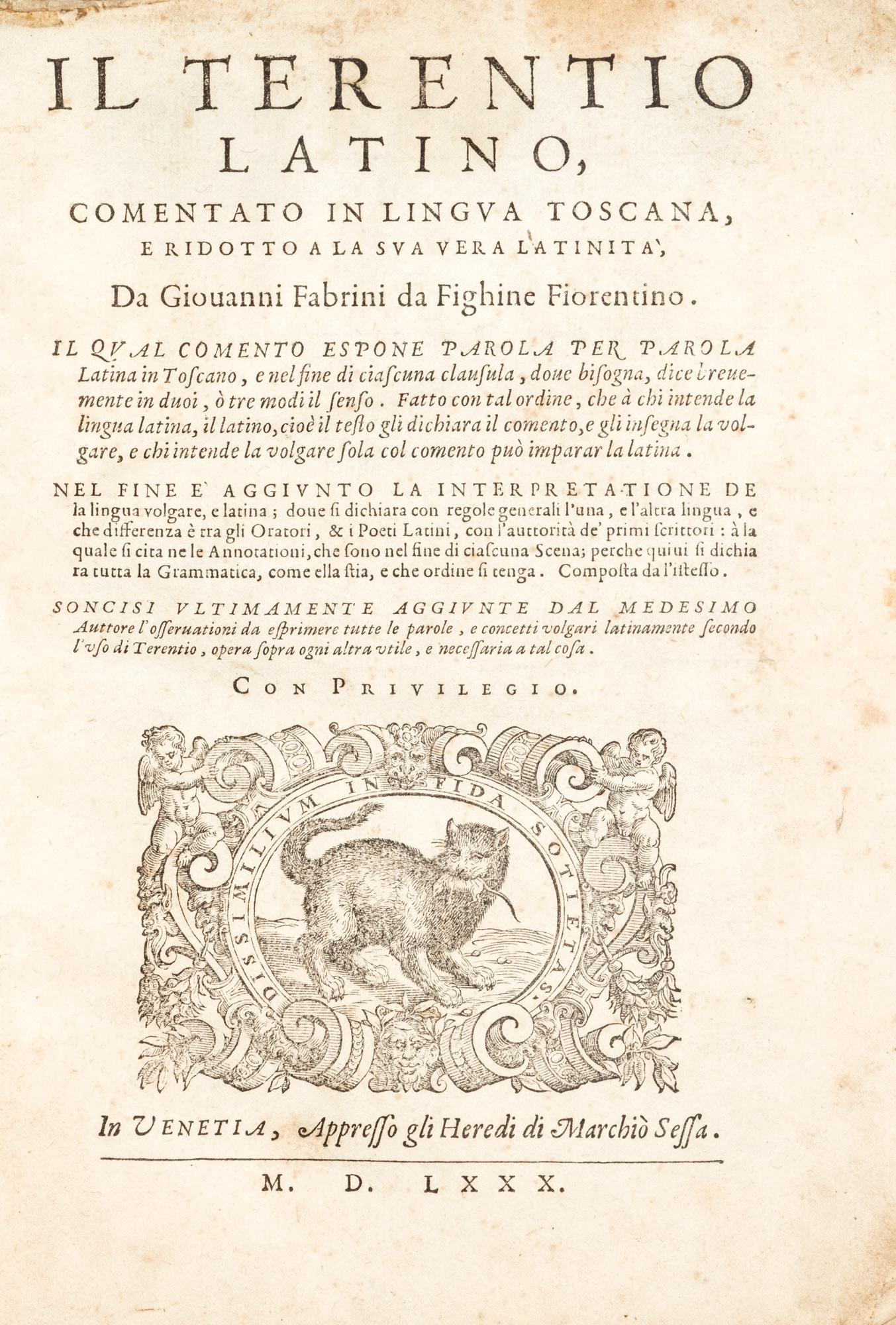 Il Terentio latino comentato in lingua toscana