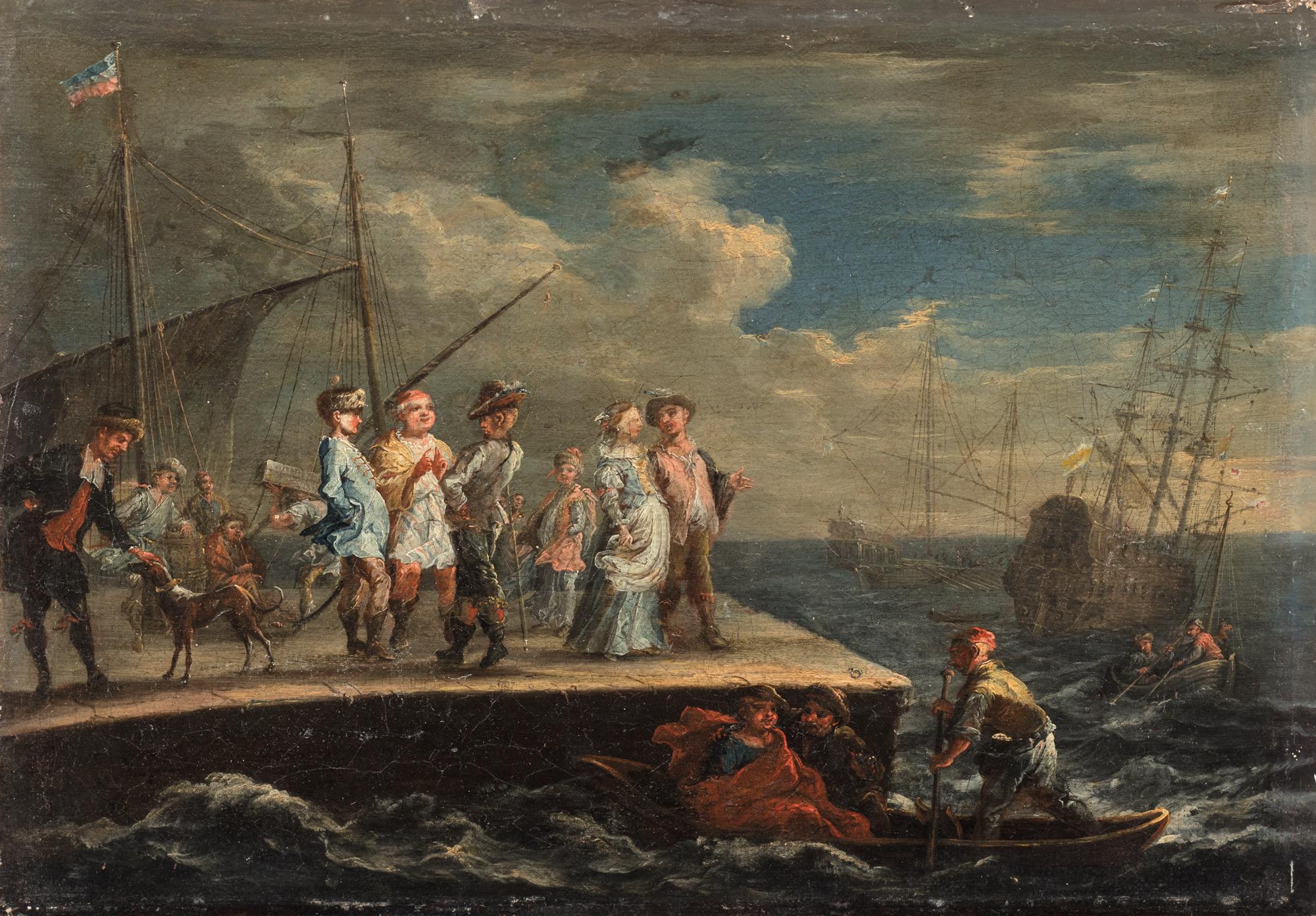 Marina con velieri e scena di sbarco con astanti sul molo e nelle scialuppe