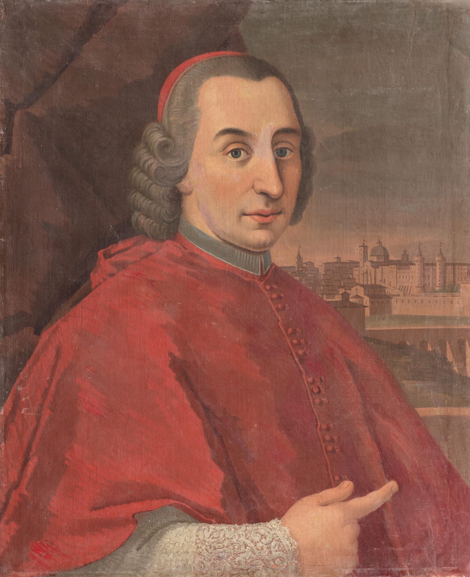 Ritratto del cardinale Annibale di Castelbarco Albani a mezzo busto, con veduta di Urbino sullo sfondo