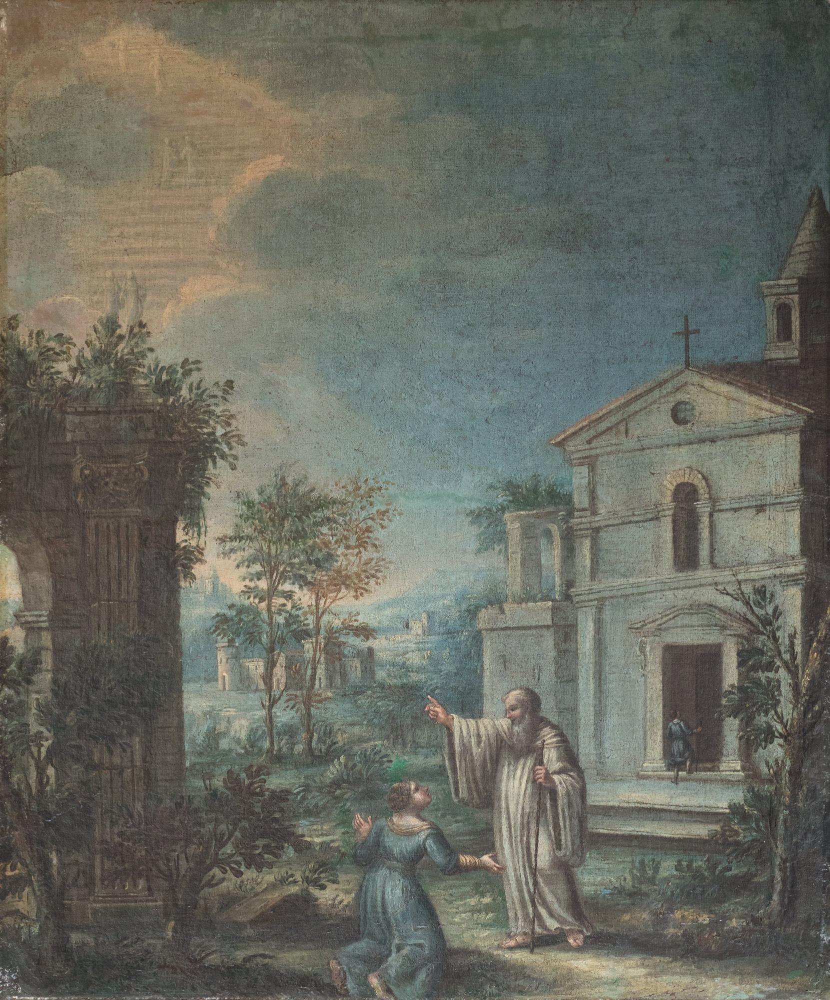 Paesaggio con rovine antiche e la predica di un monaco