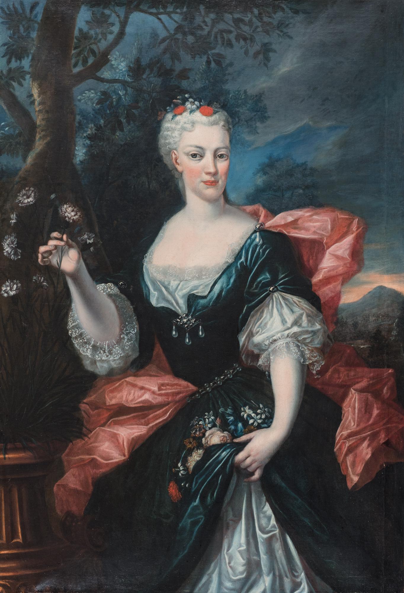 Ritratto di dama, a tre quarti di figura, con fiori in mano, en plein air