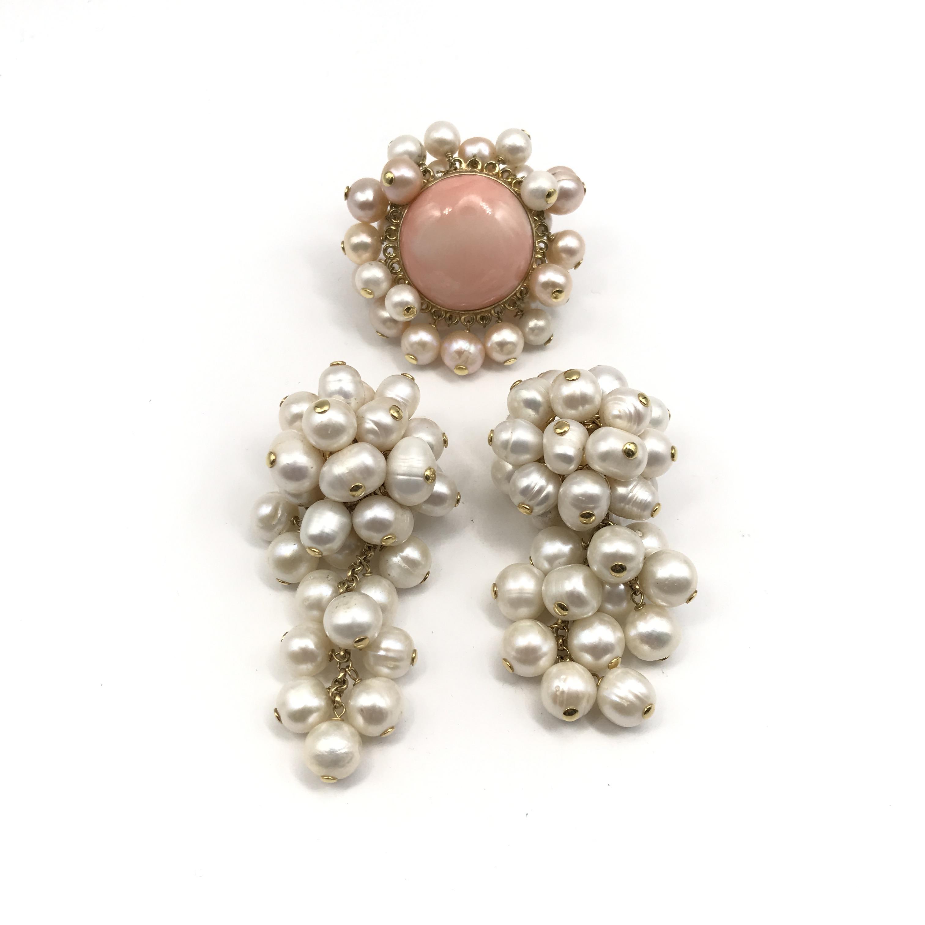 in oro 18kt, perle coltivate  e corallo
