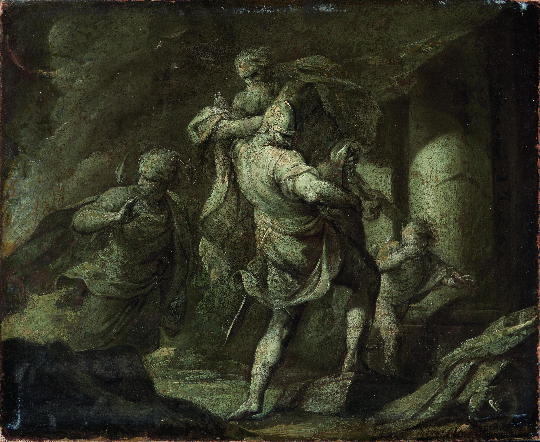 Enea e Anchise in fuga da Troia