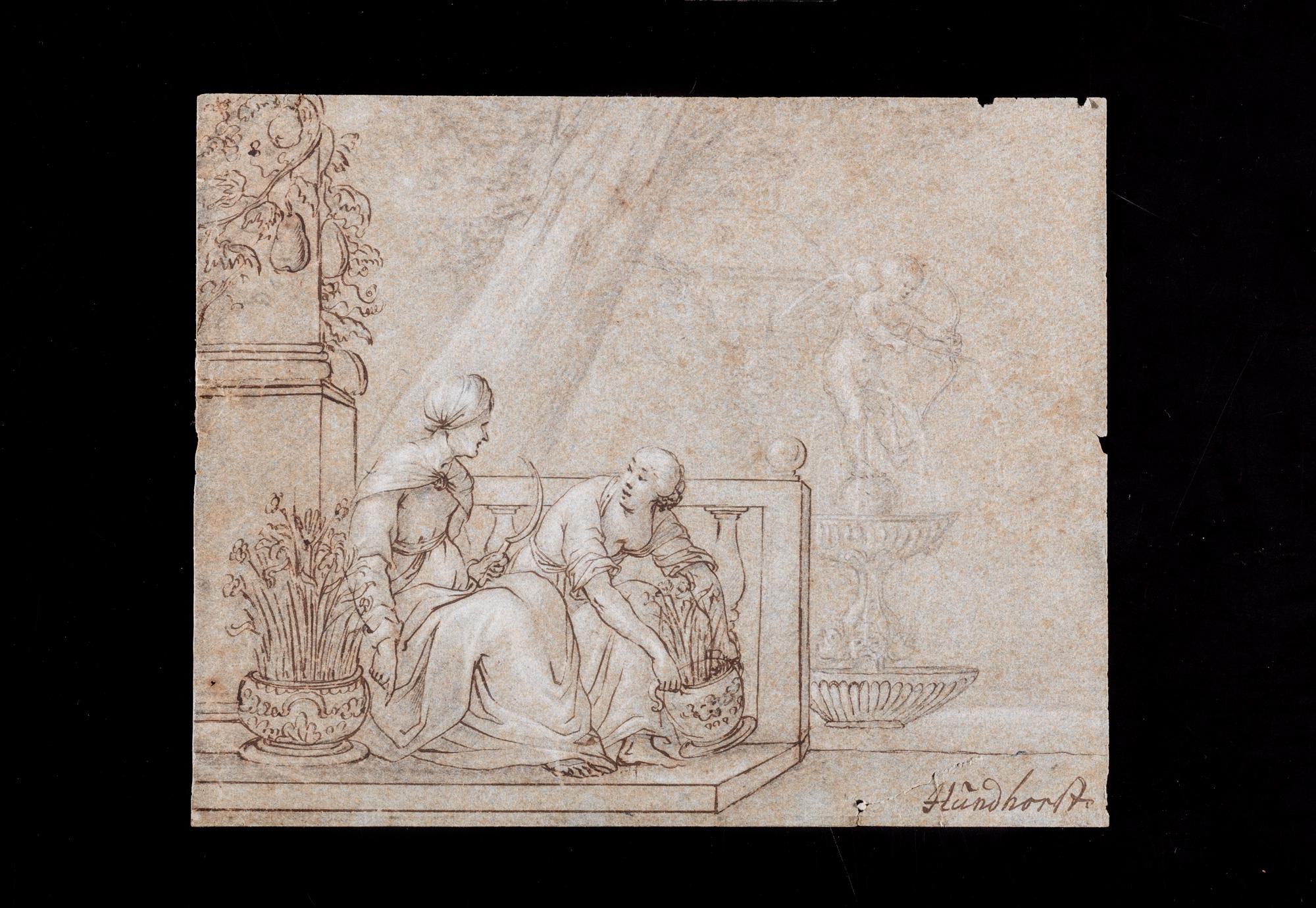 Scena allegorica: Vanitas o allegoria della Giovinezza e della Morte (recto) e studio di figura femminile (verso) a