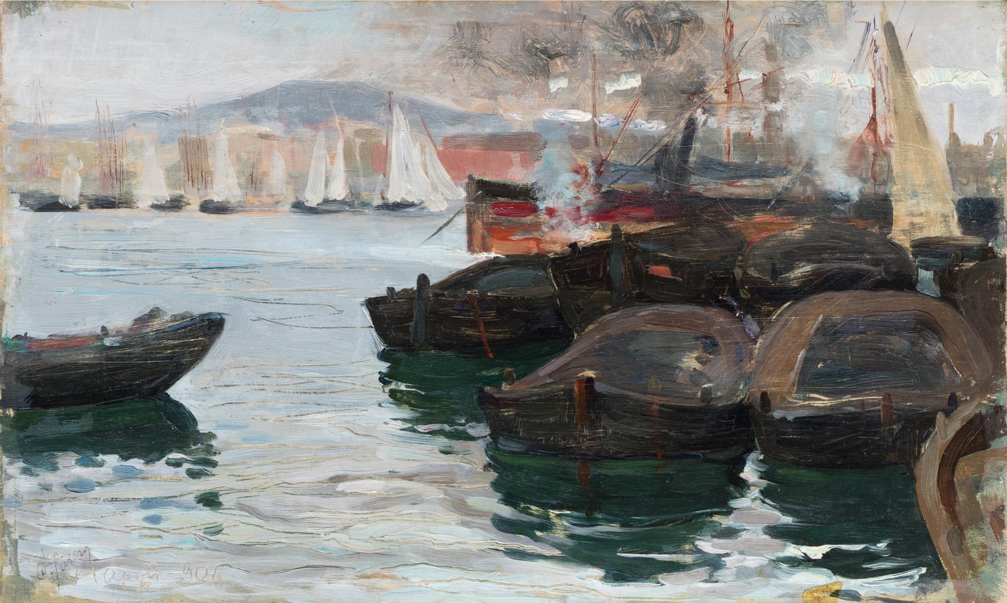 Napoli, barche in porto, 1904