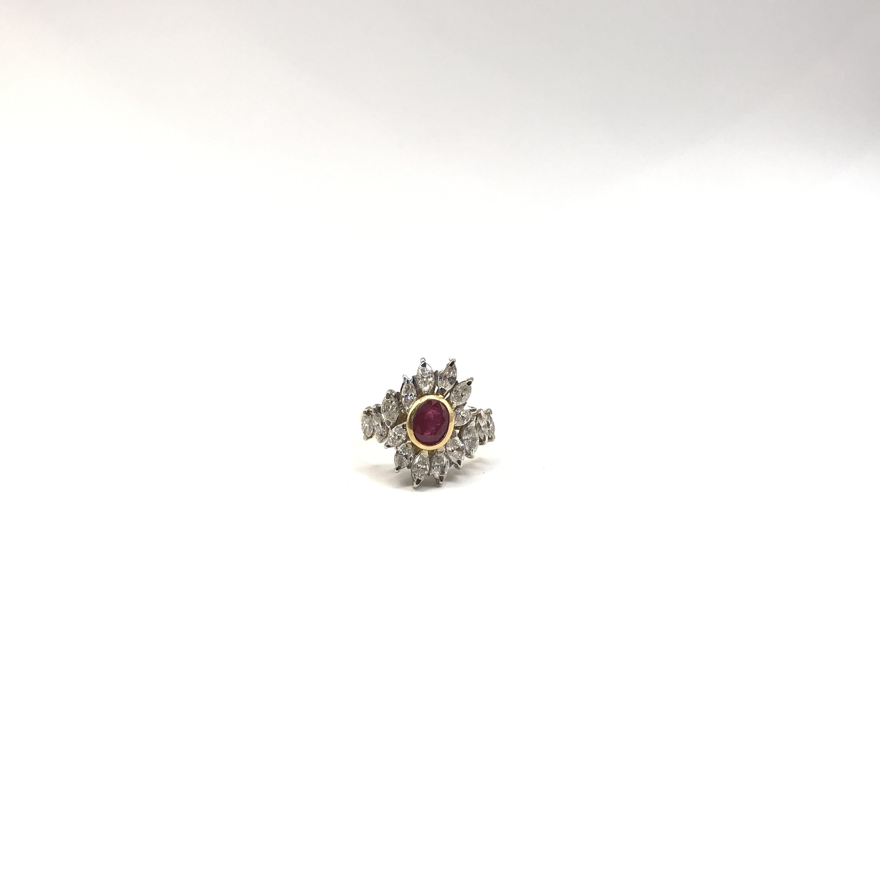 in oro bicolore 18kt, rubino e diamanti