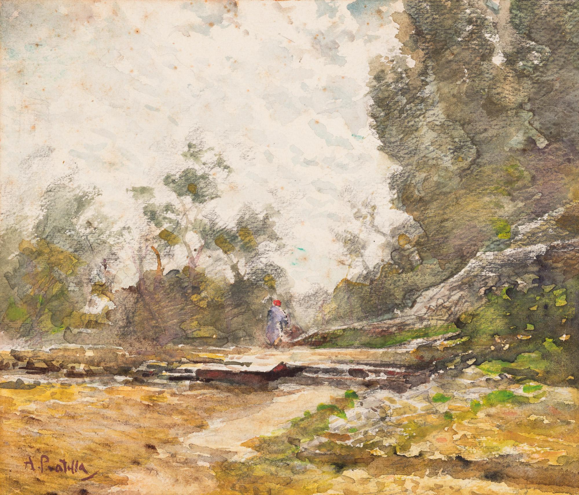 Paesaggio di campagna con viandante