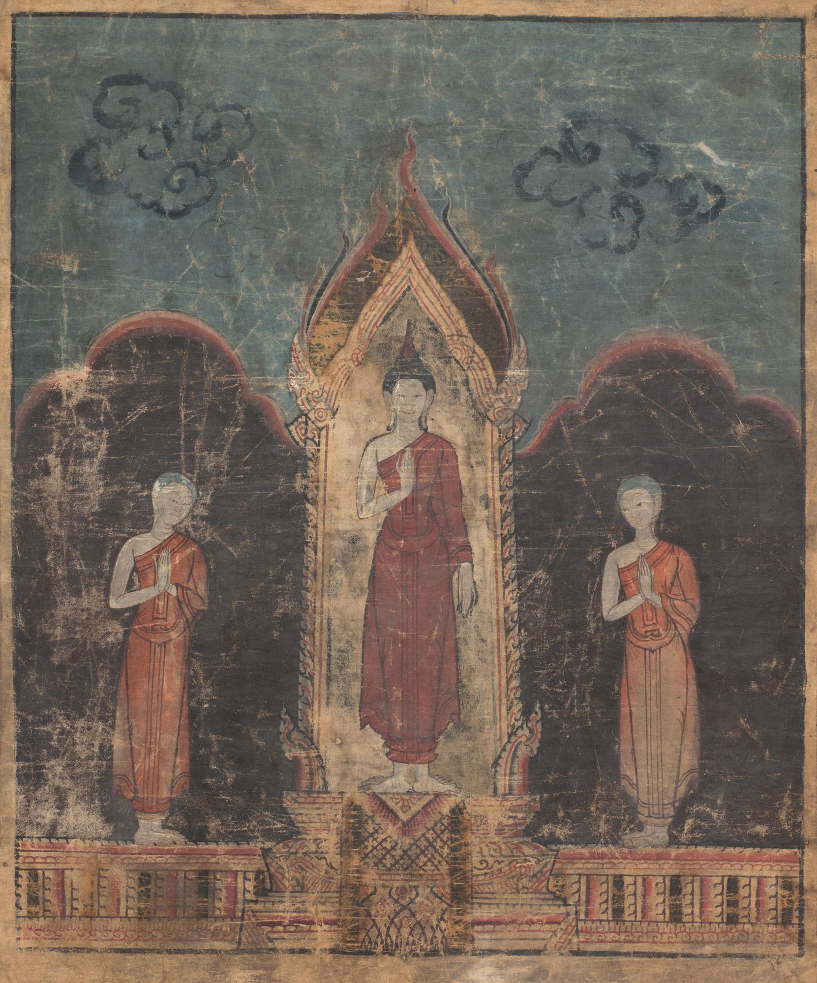 Pannello thai dipinto su tela con Buddha centrale
