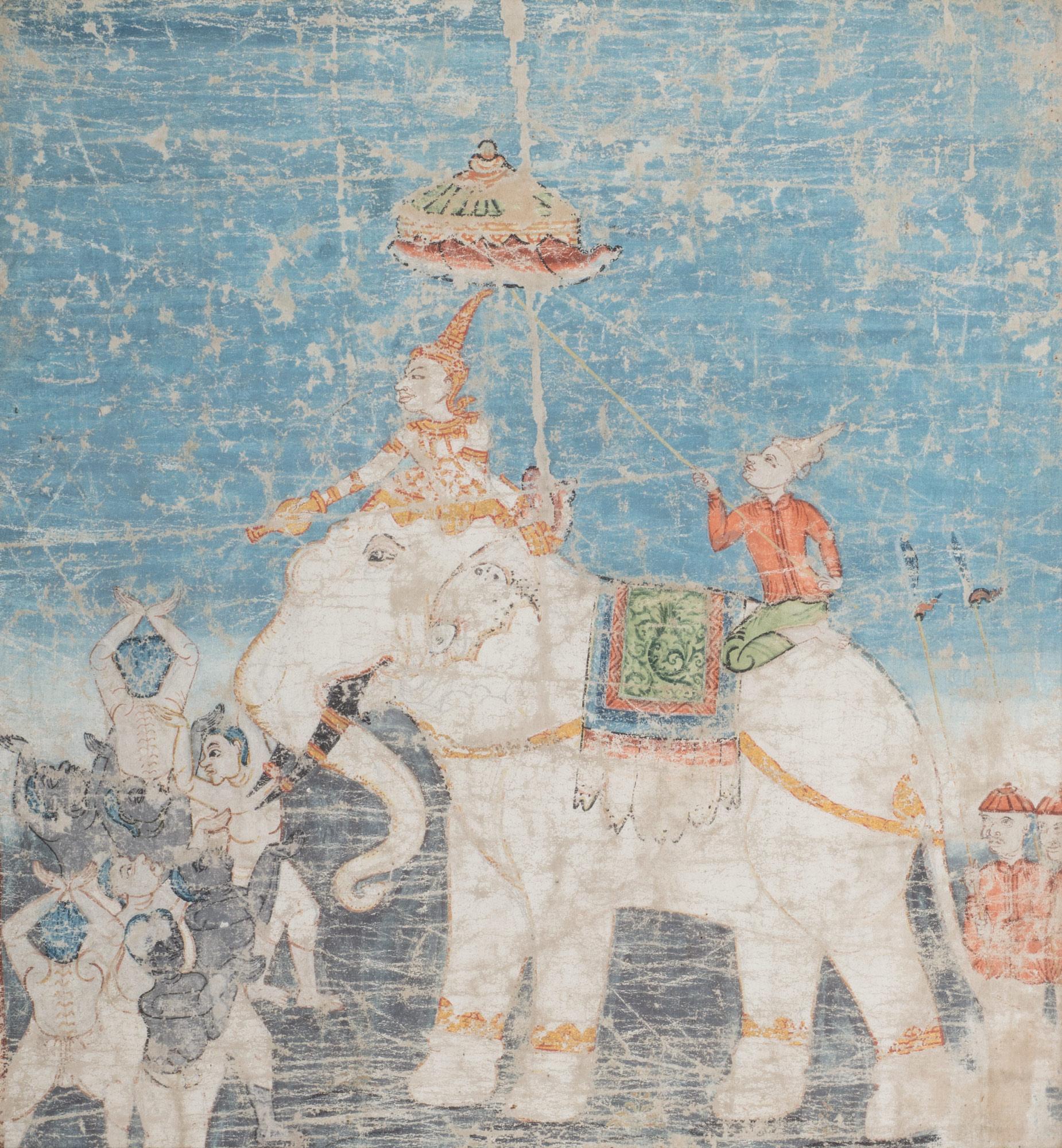 Pannello dipinto su tela con elefante bianco e personaggi, India fine secolo XVIII – inizio secolo XIX