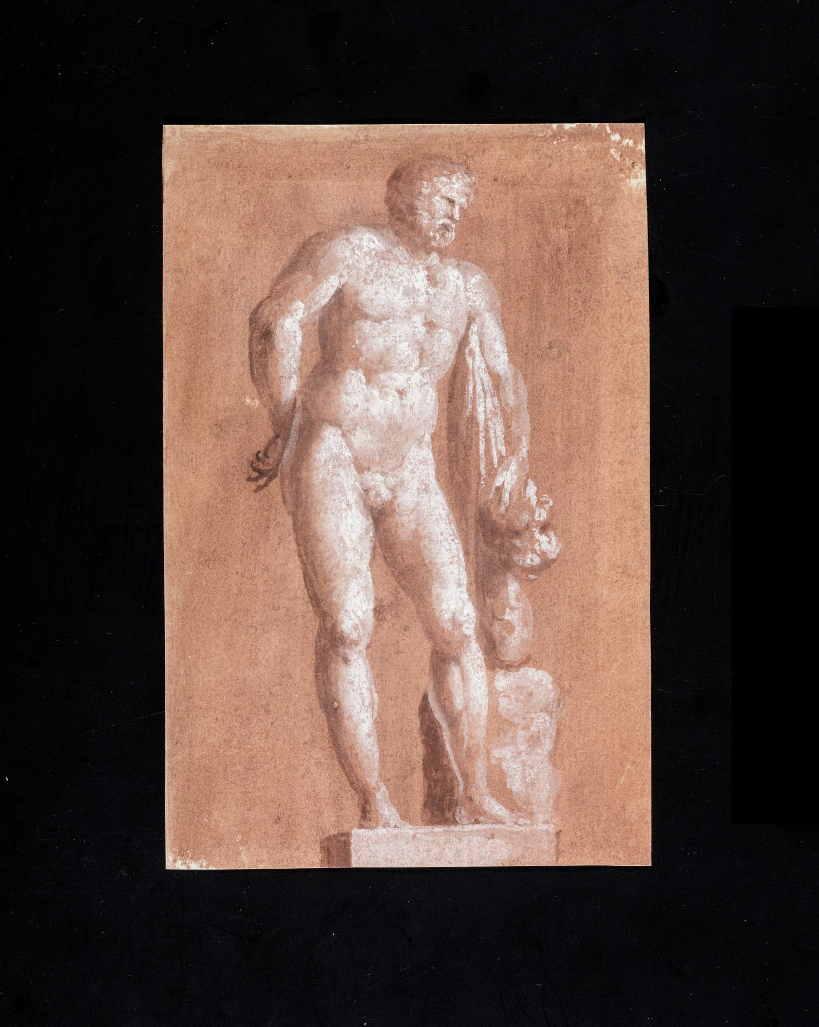 Due disegni accademici di artista neoclassico, raffiguranti Ercole e Apollo