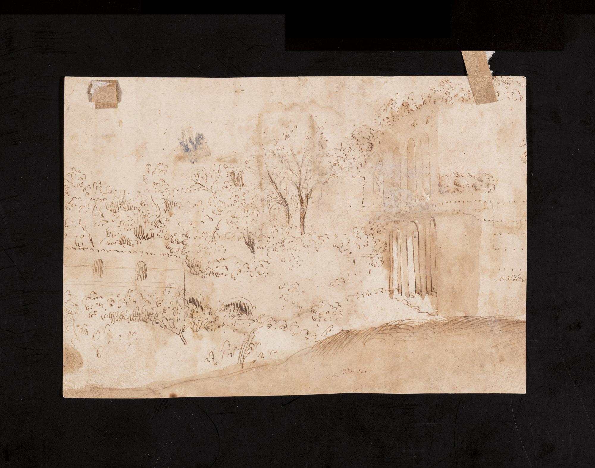 Due figure presso il tempio di Vesta (recto); e Paesaggio con architetture (verso)