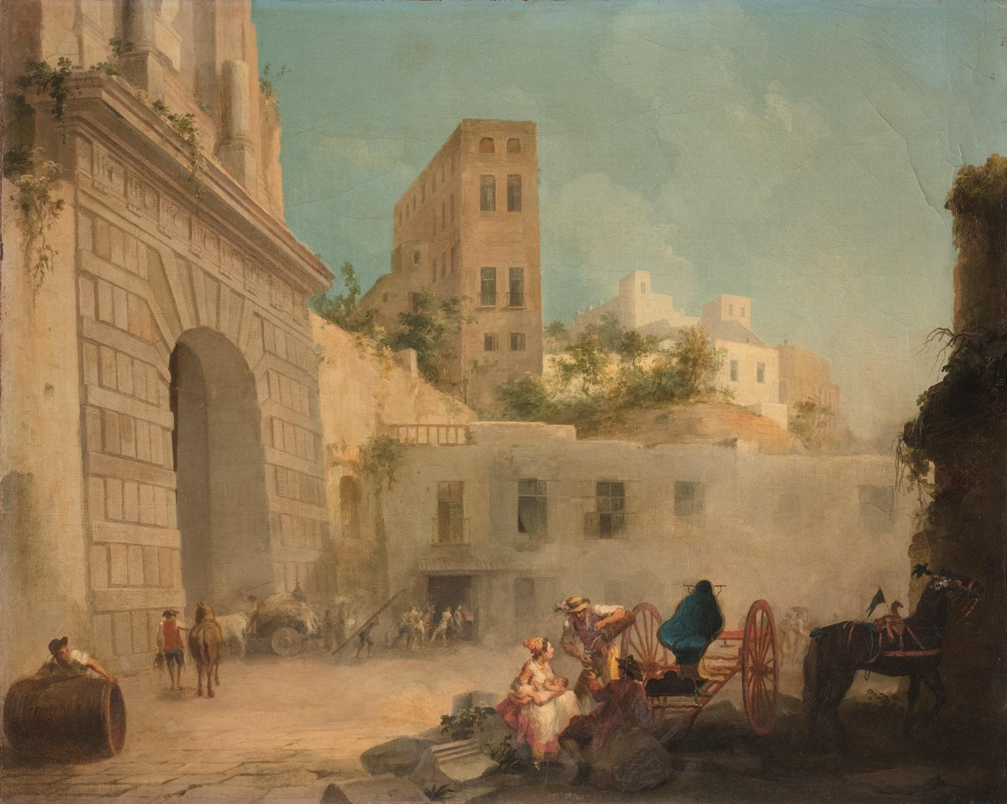 Due vedute di città mediterranea con astanti