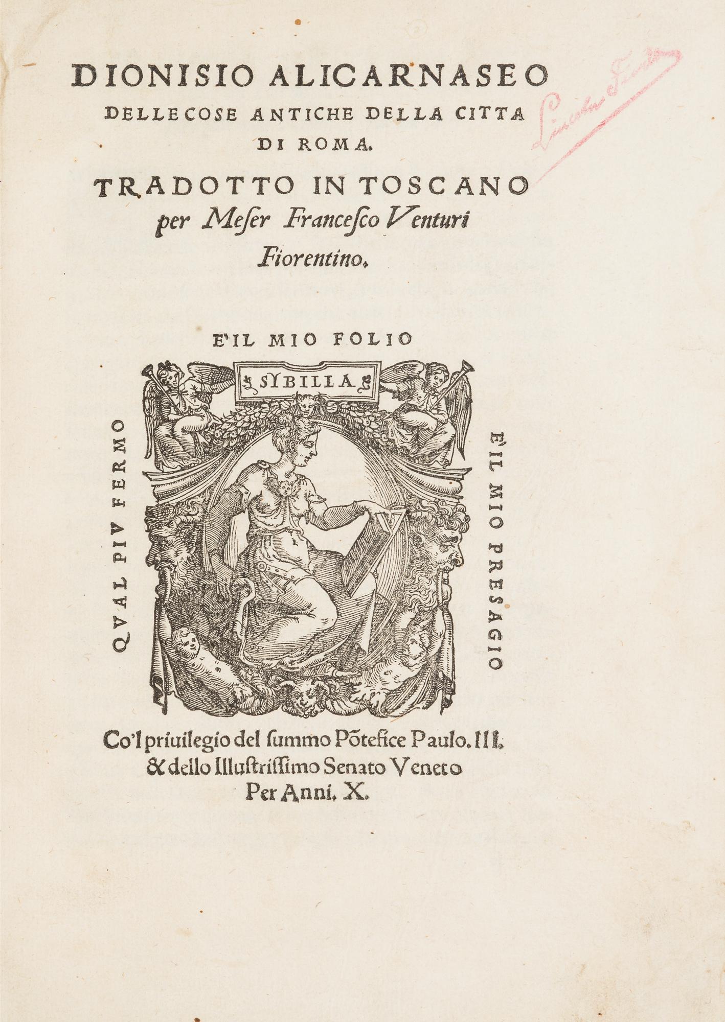 Delle cose antiche della Città di Roma. Tradotto in Toscano per messer Francesco Venturi Fiorentino