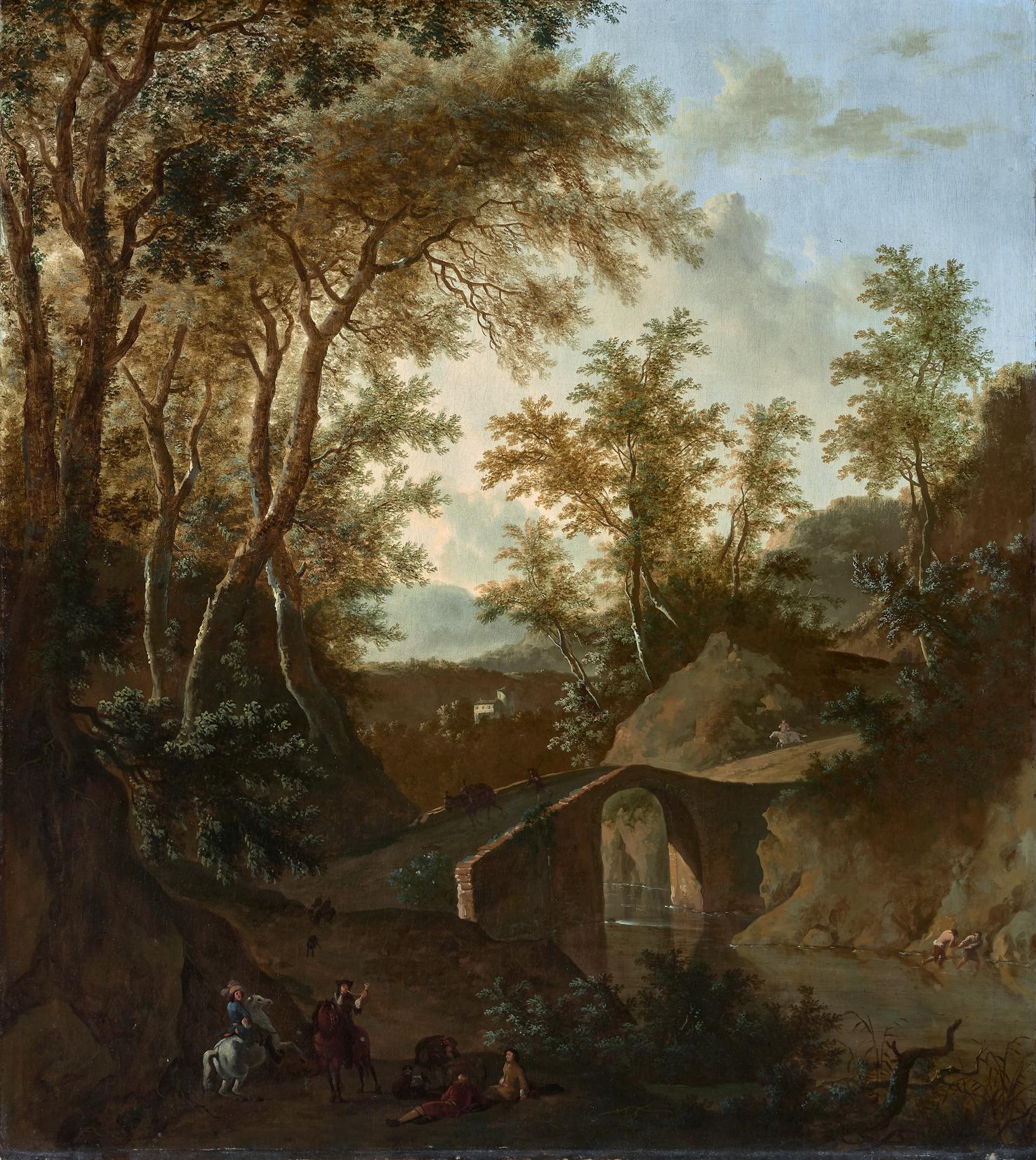 Paesaggio con ponte di pietra e astanti
