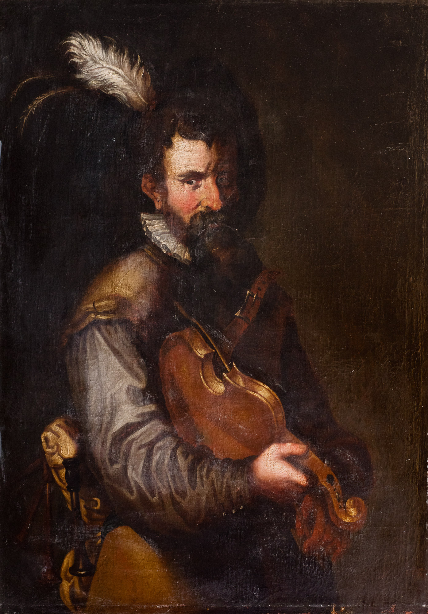 Suonatore di violino con cappello piumato
