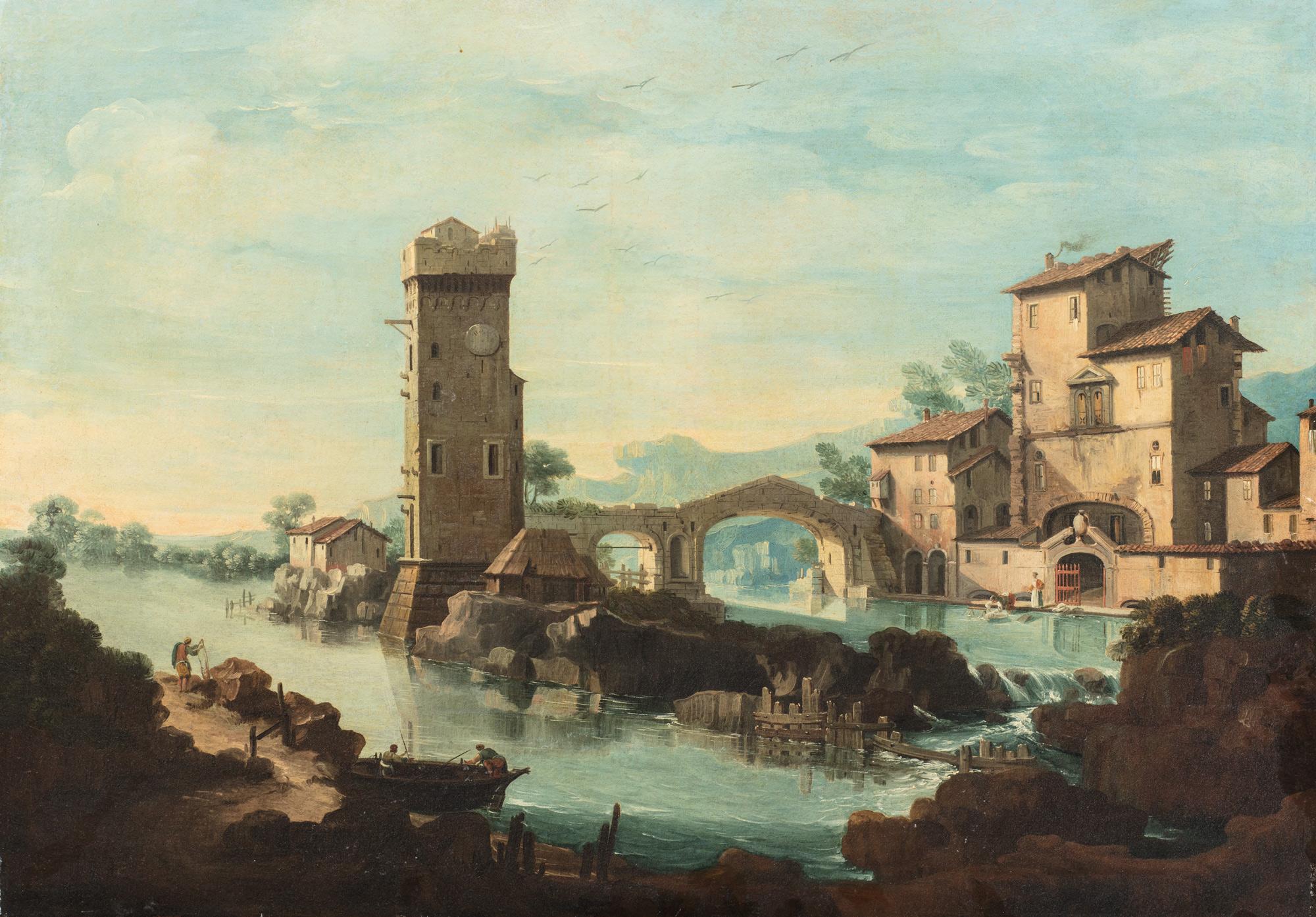 Paesaggio fluviale con caseggiato, torre e pescatori in riva