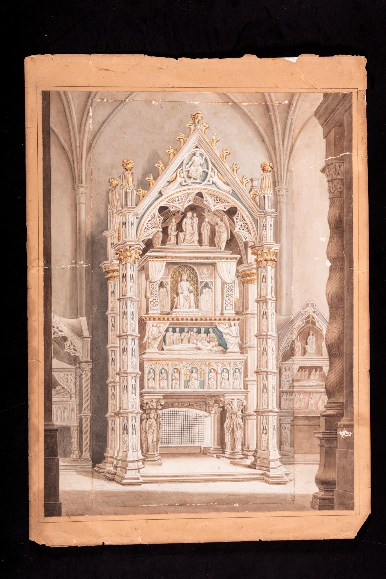 Il sepolcro di Roberto d'Angiò a Napoli; e veduta di una cappella gentilizia con tre sepolcri monumentali