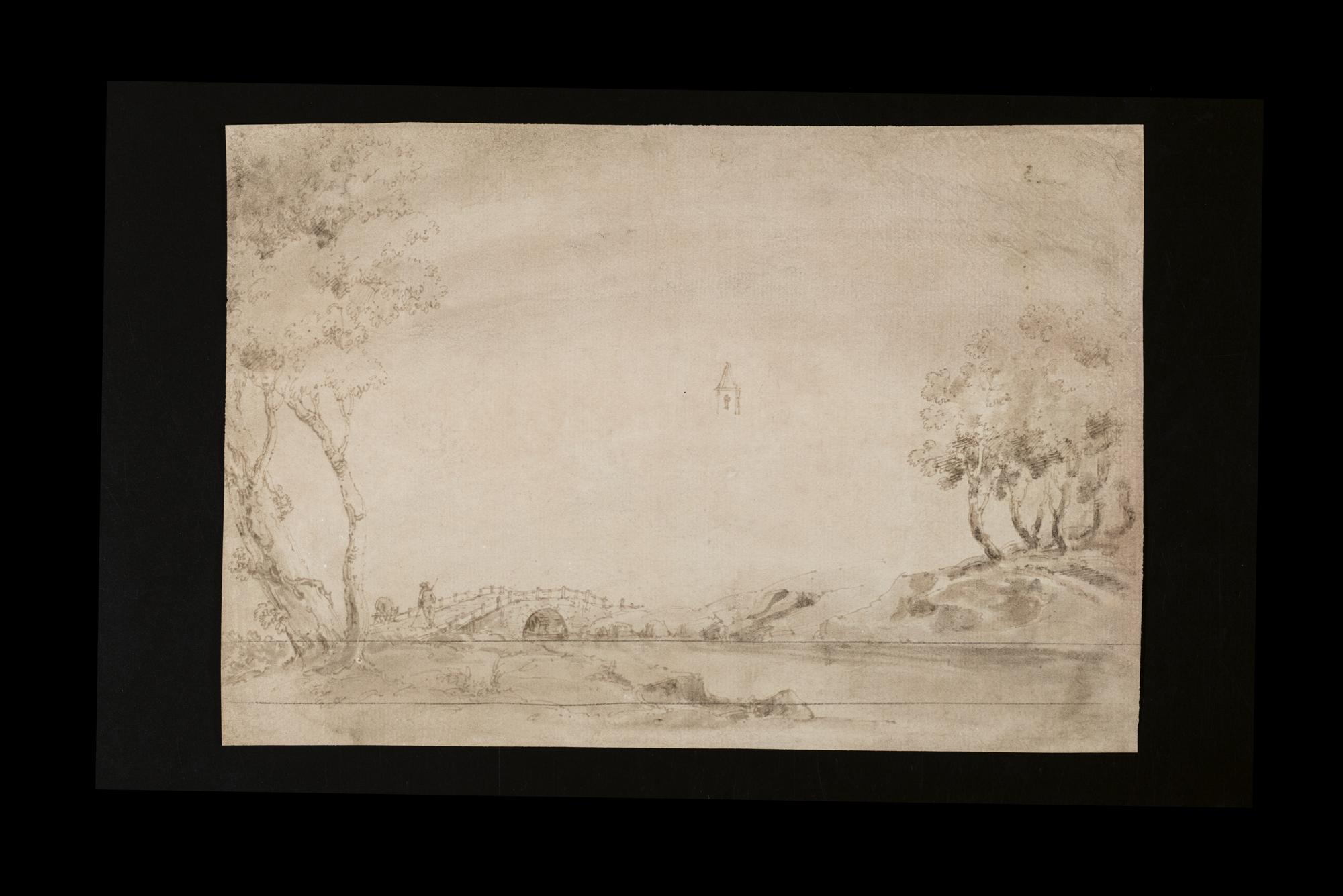Studio di una donna di schiena adagiata su un piano e di un candelabro (recto); e Paesaggio (verso)