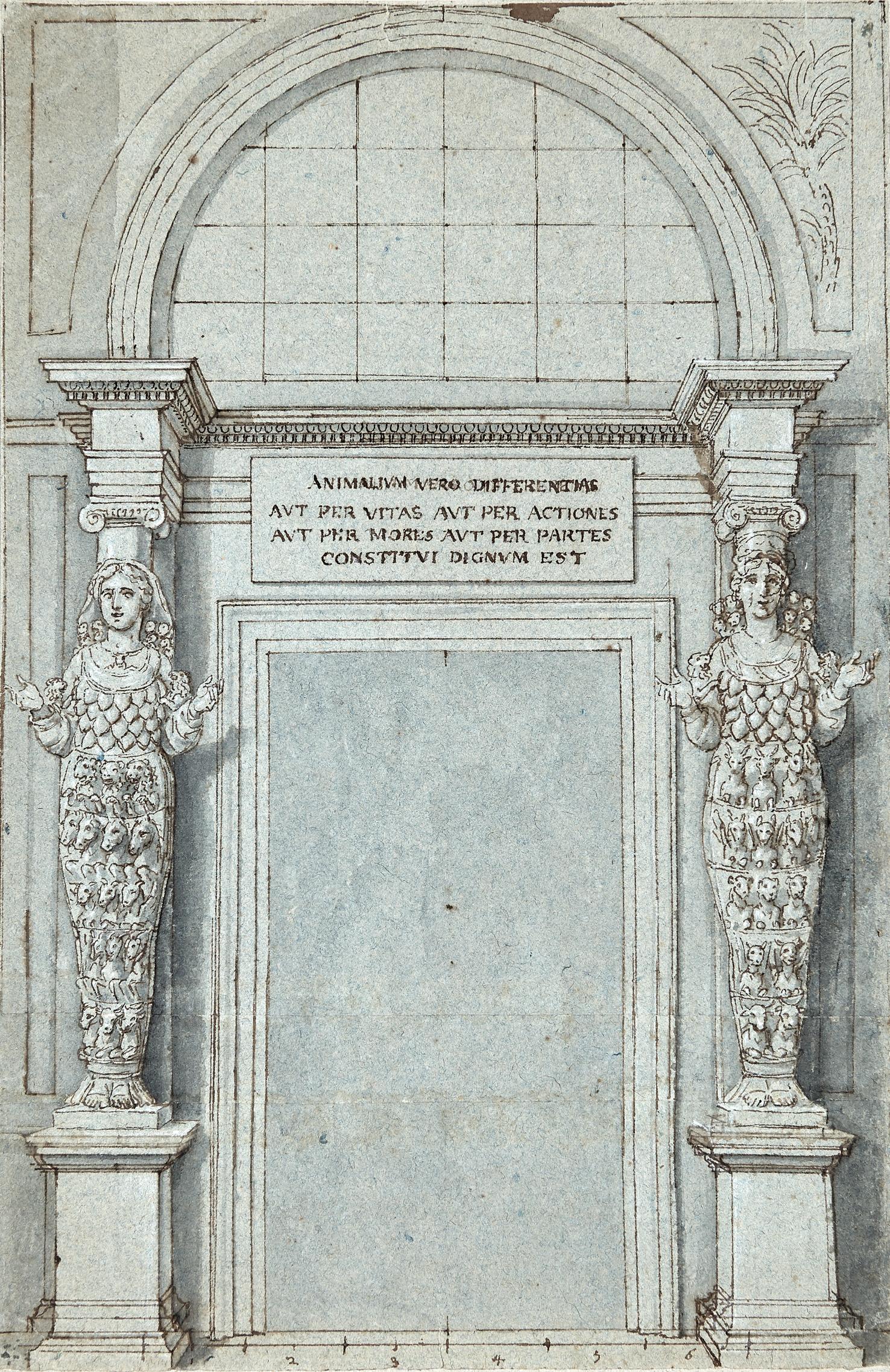 Studio per un frontespizio, con portale fiancheggiato da cariatidi in forma di Artemide Efesia
