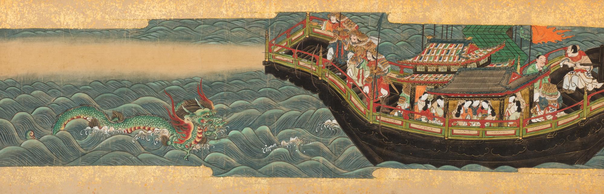 Nave con Samurai, nobili donne e drago