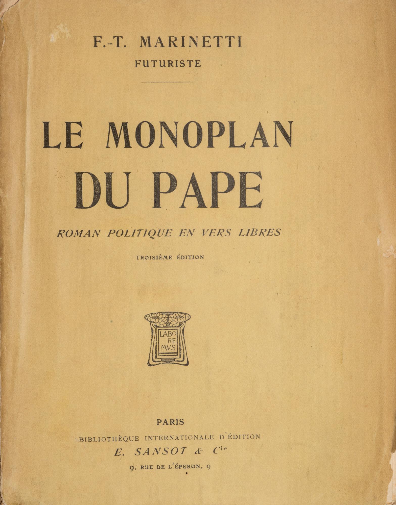Le Monoplan du Pape. Roman politique en vers libres