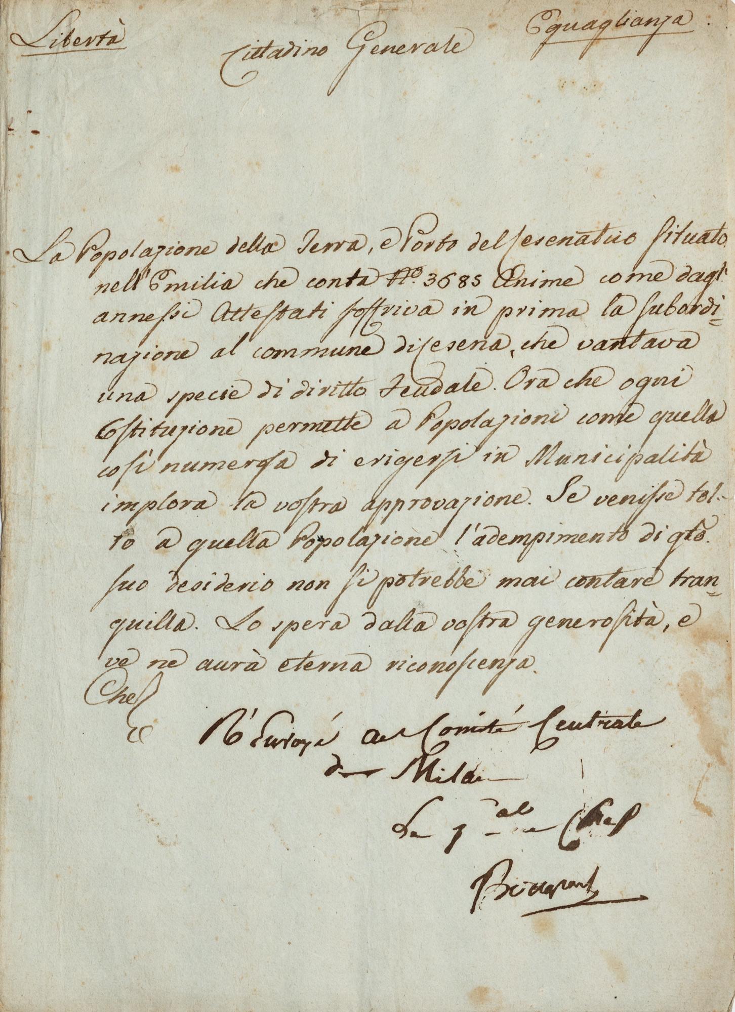 Lettera con sottoscrizione autografa