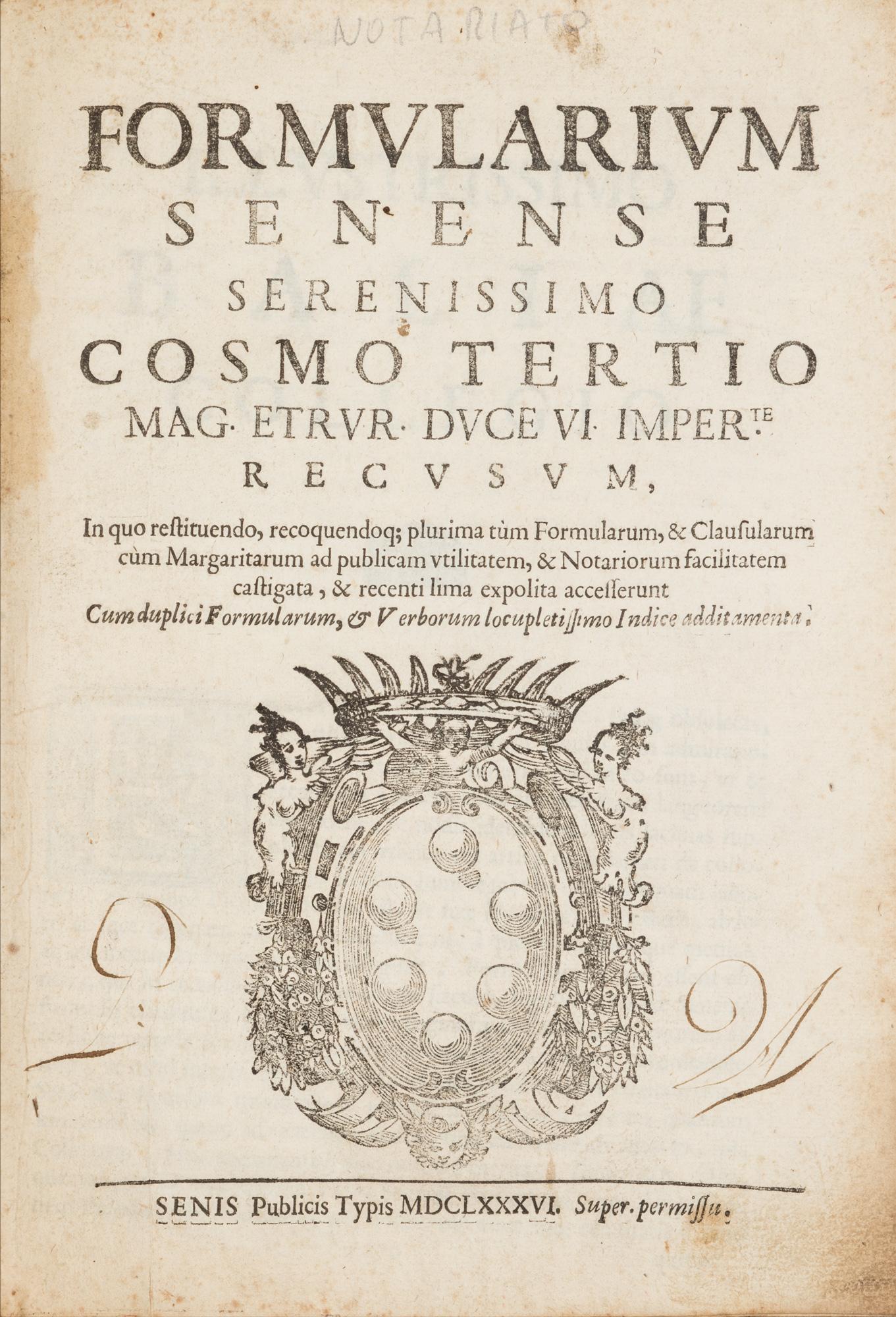 Formularium Senense serenissimo Cosmo tertio … recusum