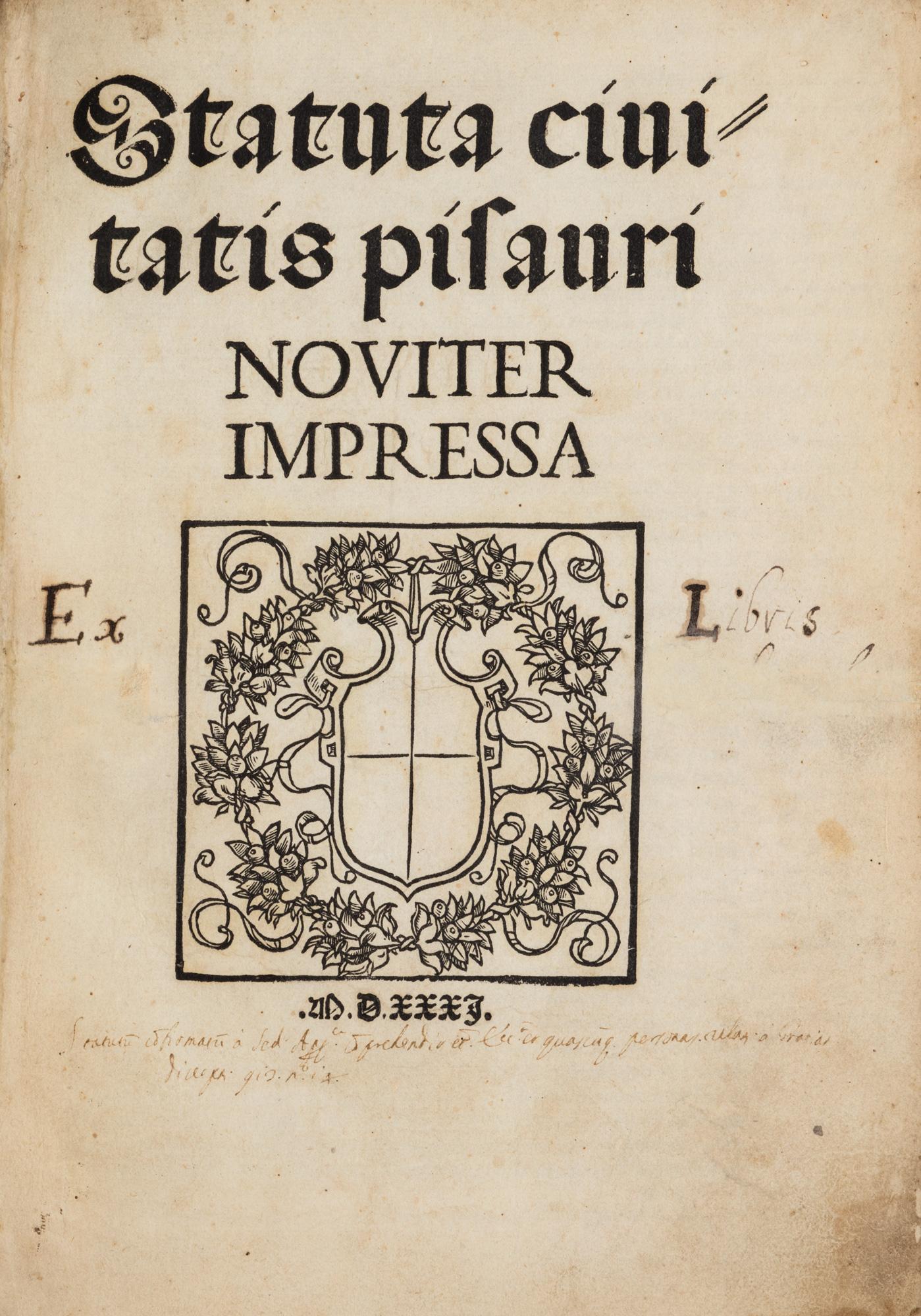 Statuta civitatis pisauri noviter impressa