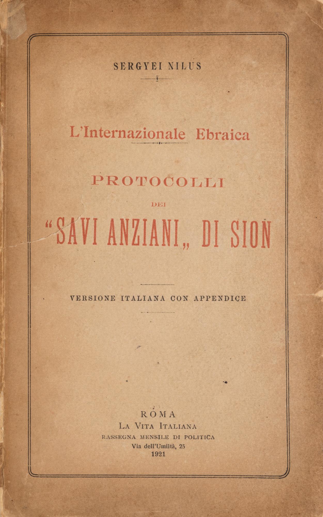 """L'Internazional ebraica. Protocolli dei """"Savi anziani di Sion"""""""