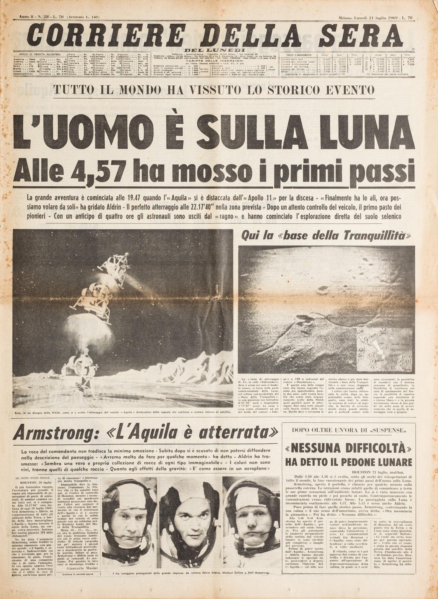 Primo viaggio nello spazio e sbarco sulla luna